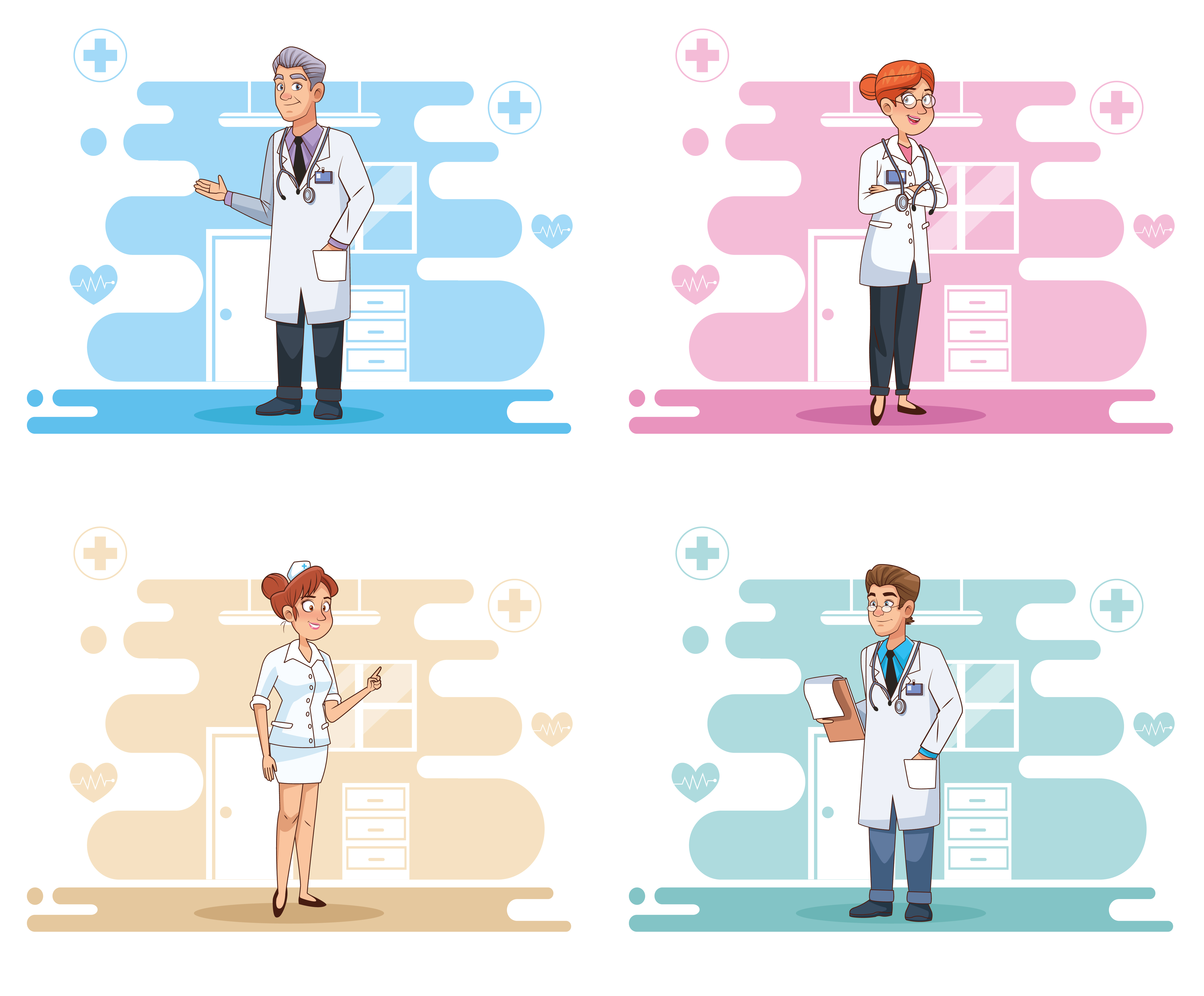 Four scenes of professional doctors staff characters vector