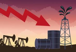 mercado de precios del petróleo con barriles e iconos vector