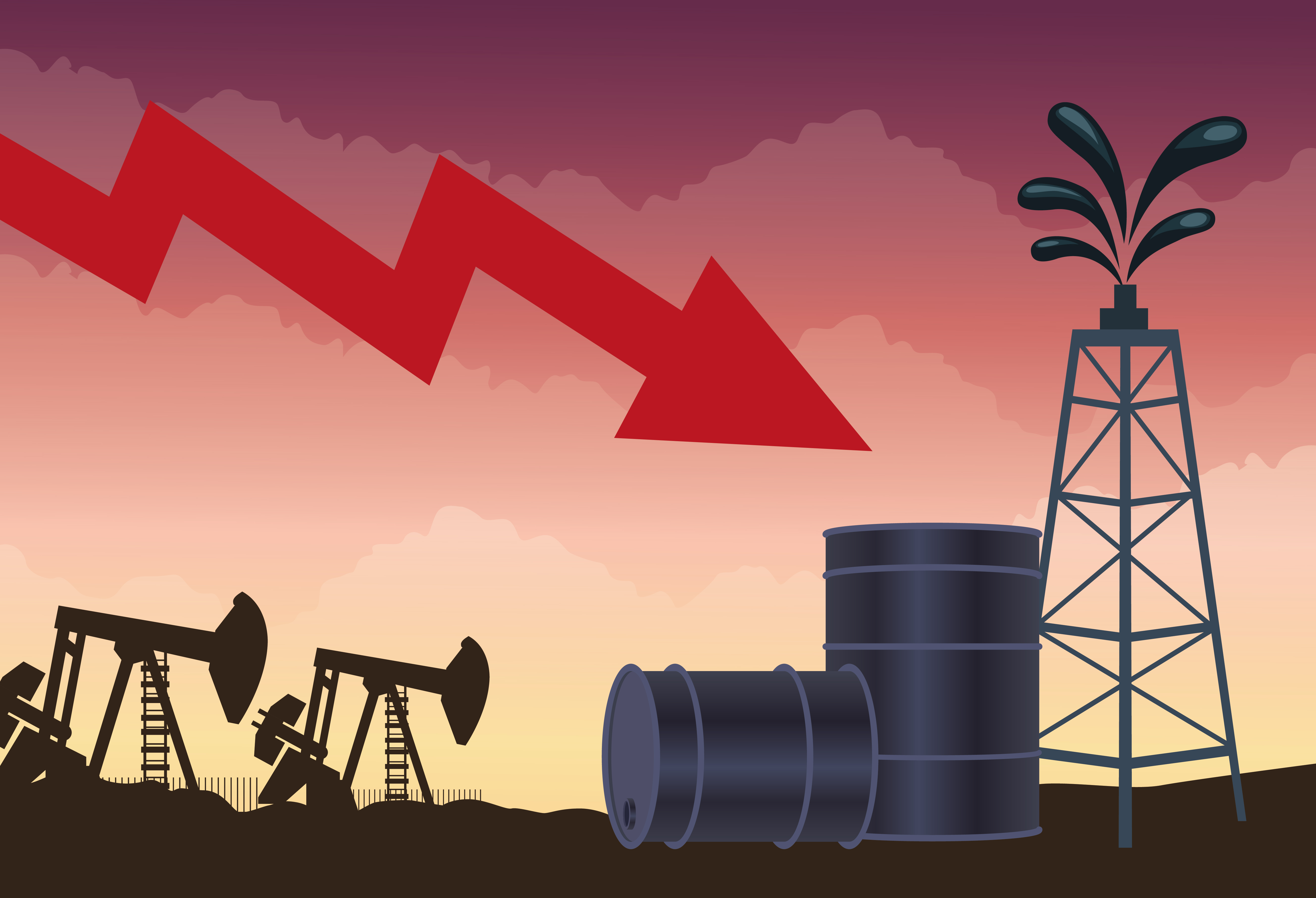 Oil price market with barrels and icons vector