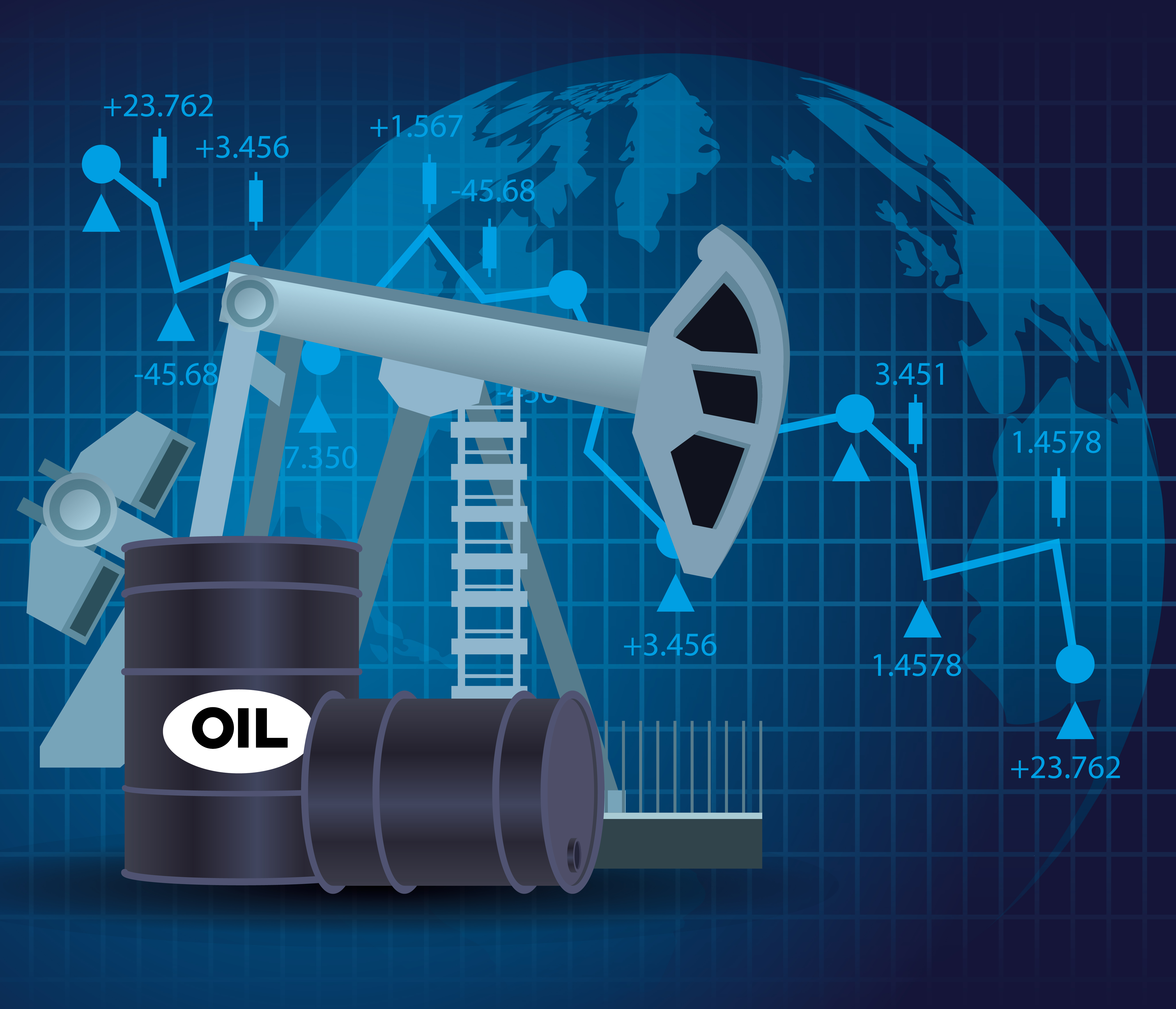 Oil price market with barrels icons vector