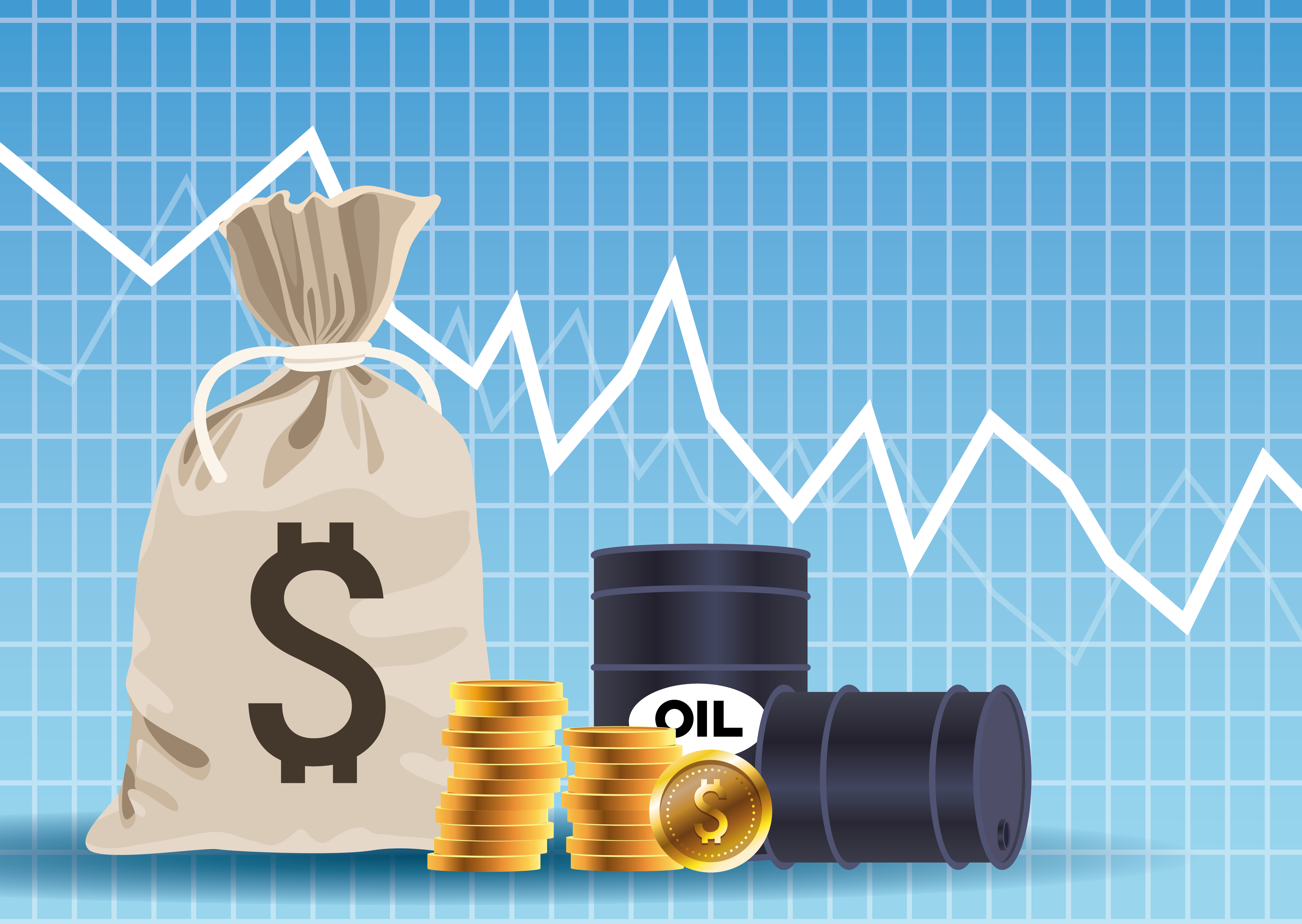 Oil price market with barrels and coins money bag vector