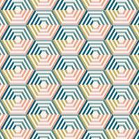 patrón hexagonal rayado colorido abstracto vector