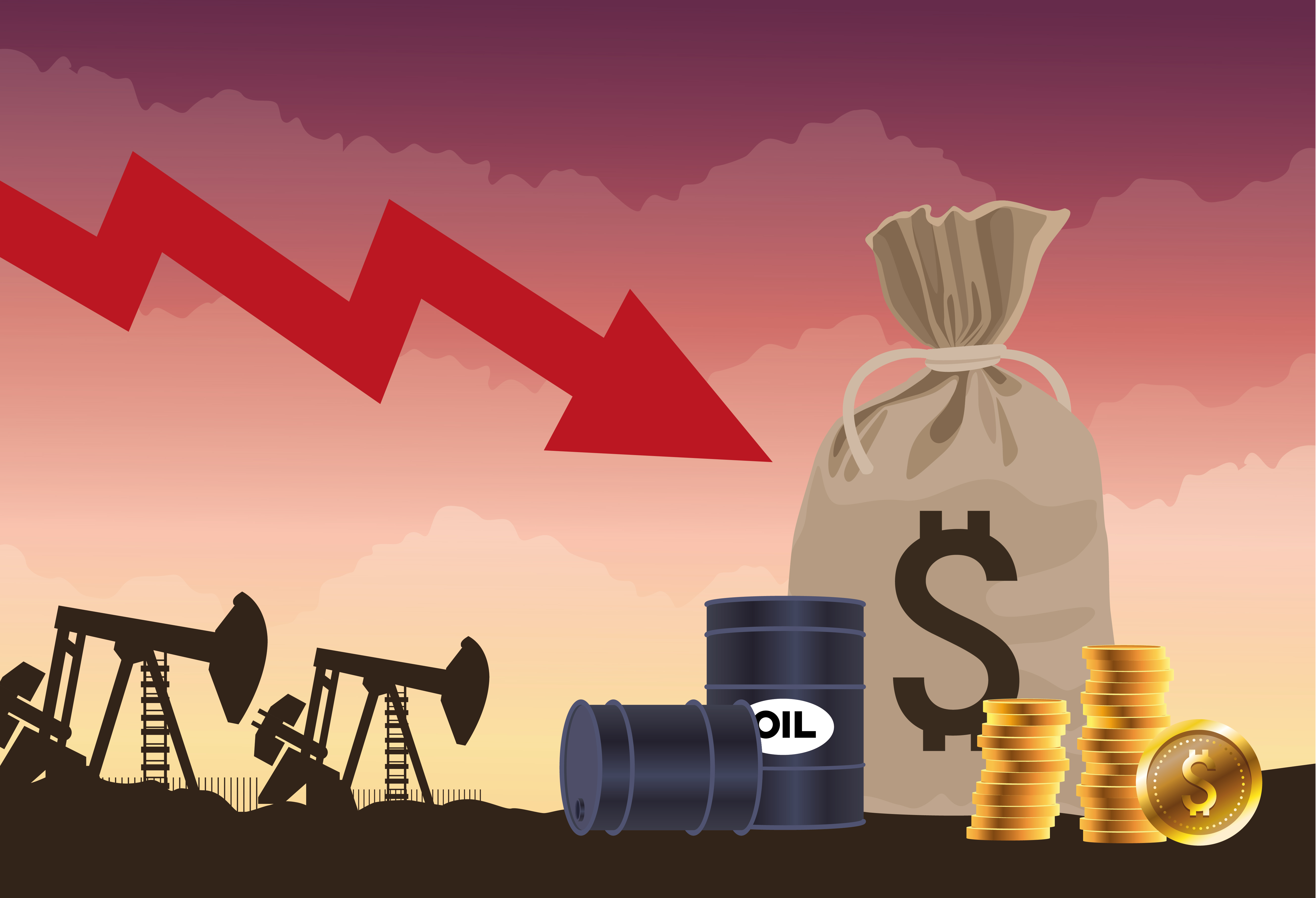 Oil price market with barrels and coins vector