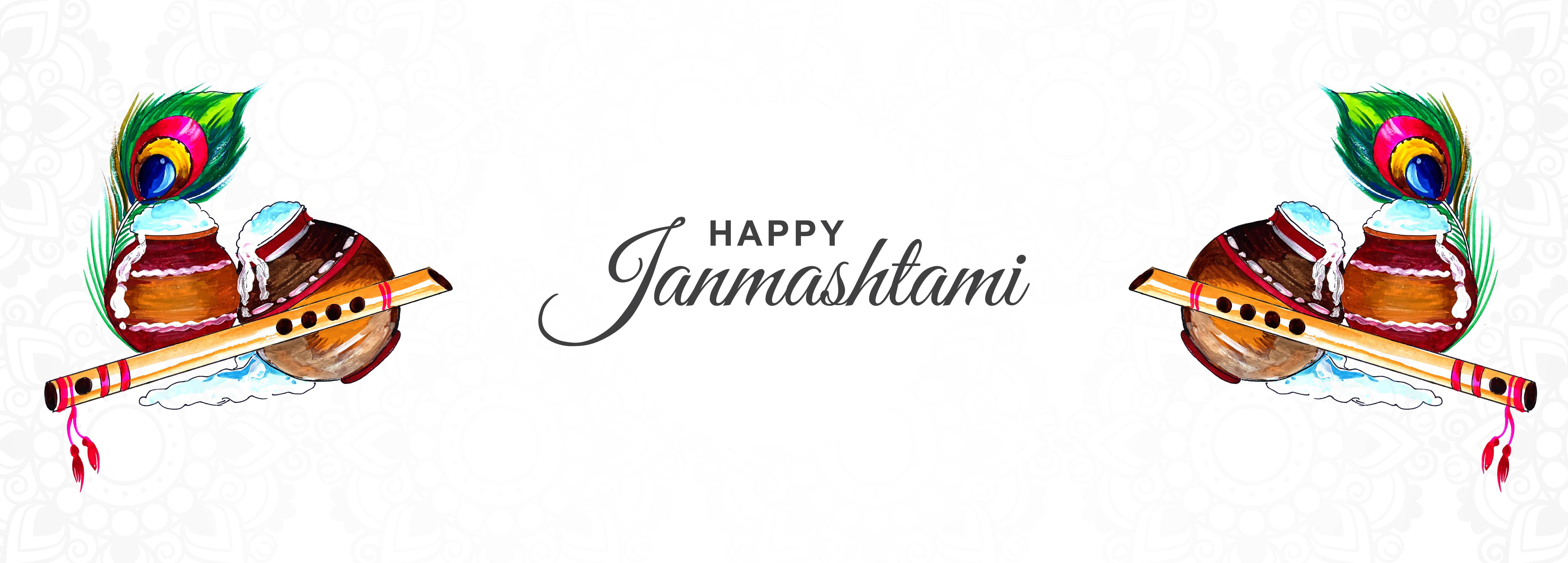 fondo de banner de tarjeta de festival de krishna janmashtami