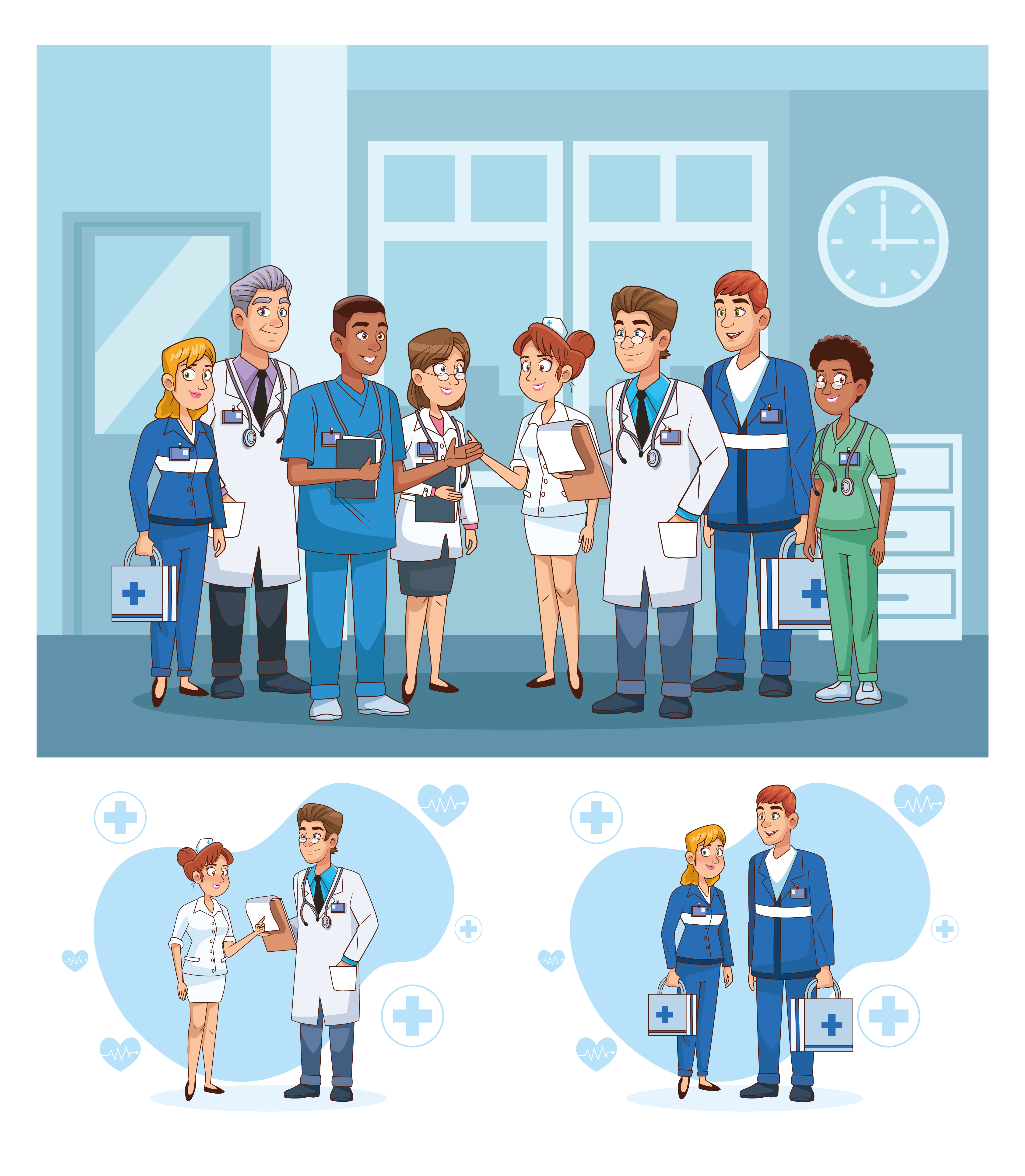 Professional doctors staff in hospital characters vector