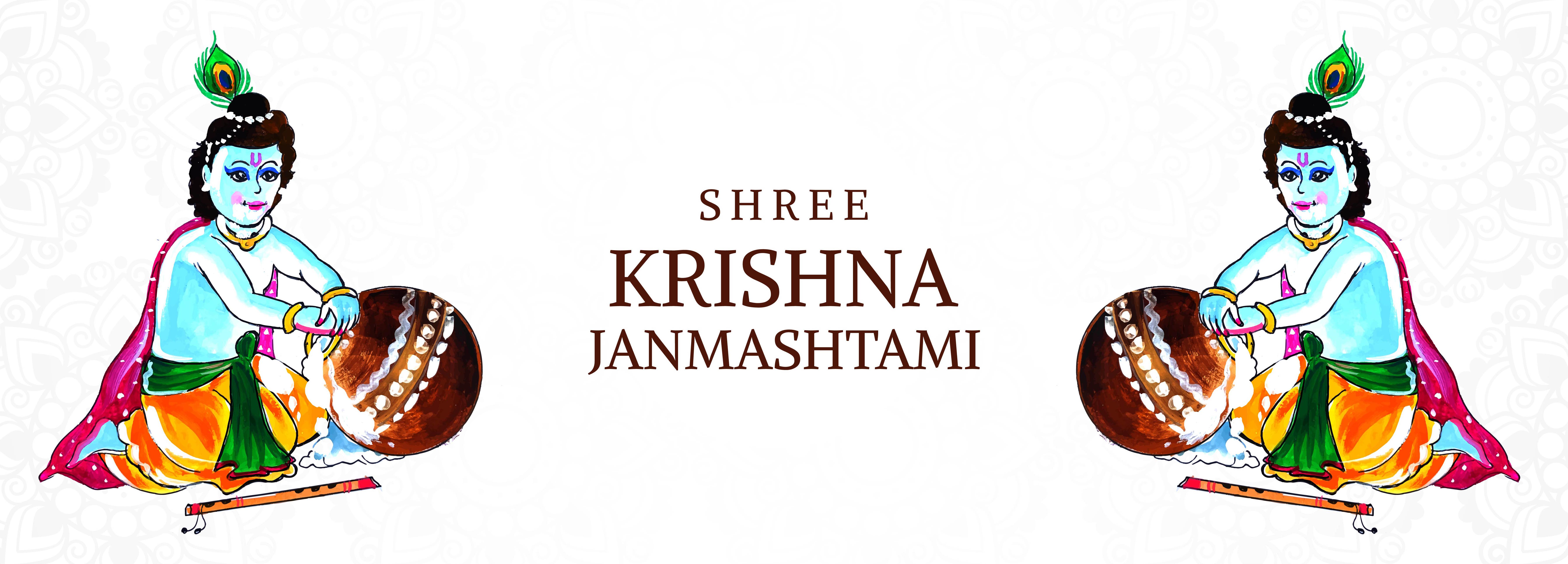 Krishna Putting Hand in Porridge Pot Janmashtami Festival Card Banner vector
