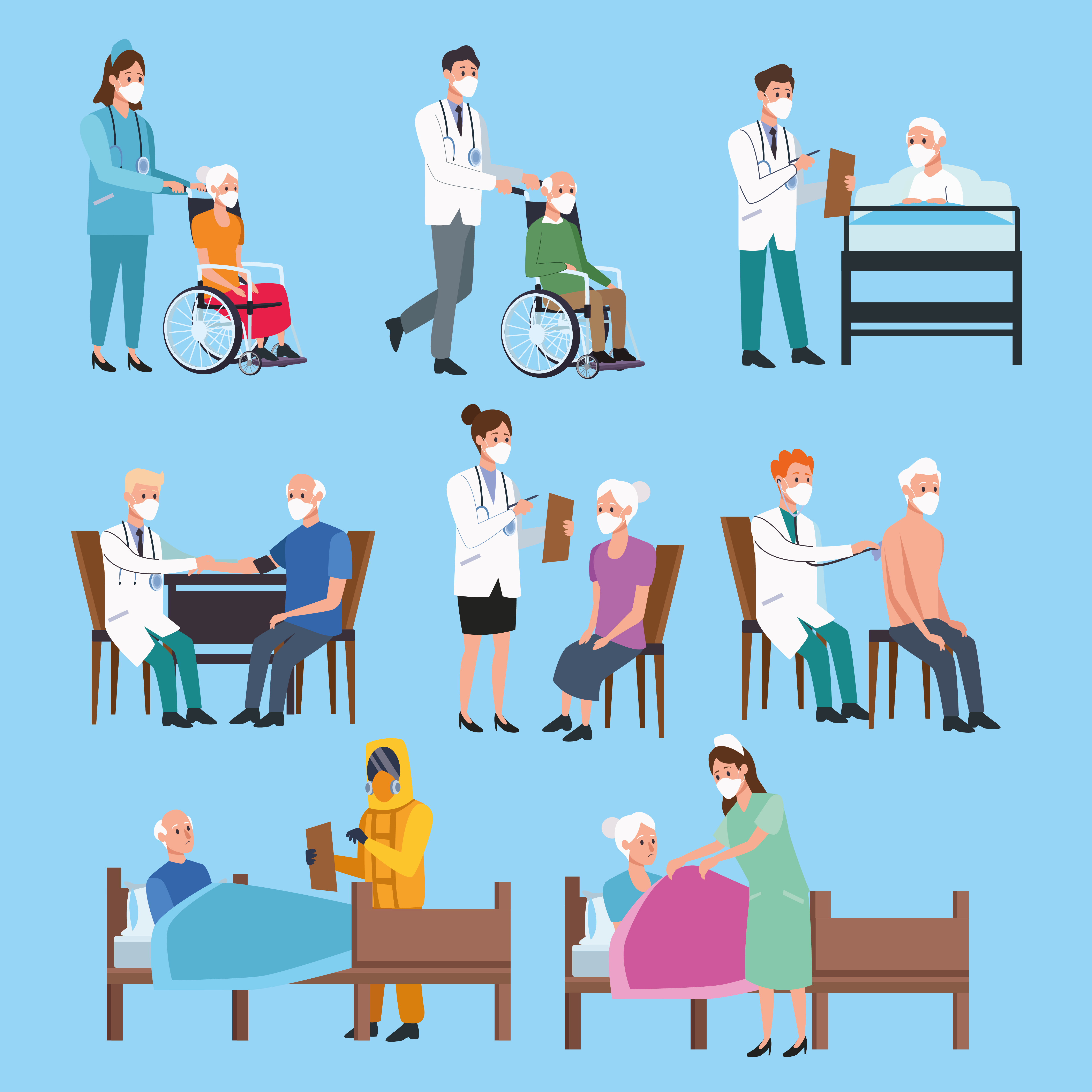 Set of medical staff protecting elderly characters vector