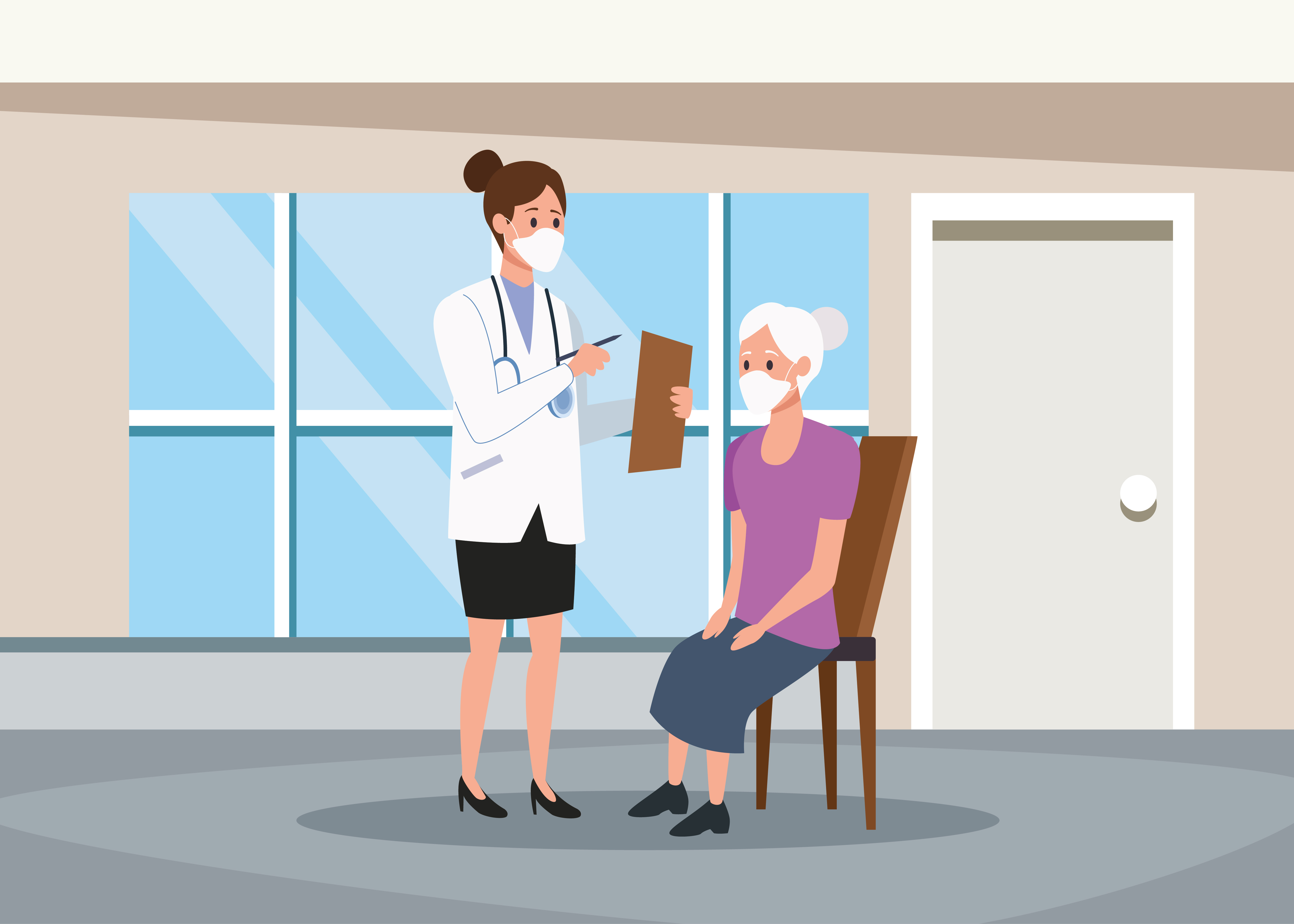 Female doctor protecting elderly person characters with protective masks vector