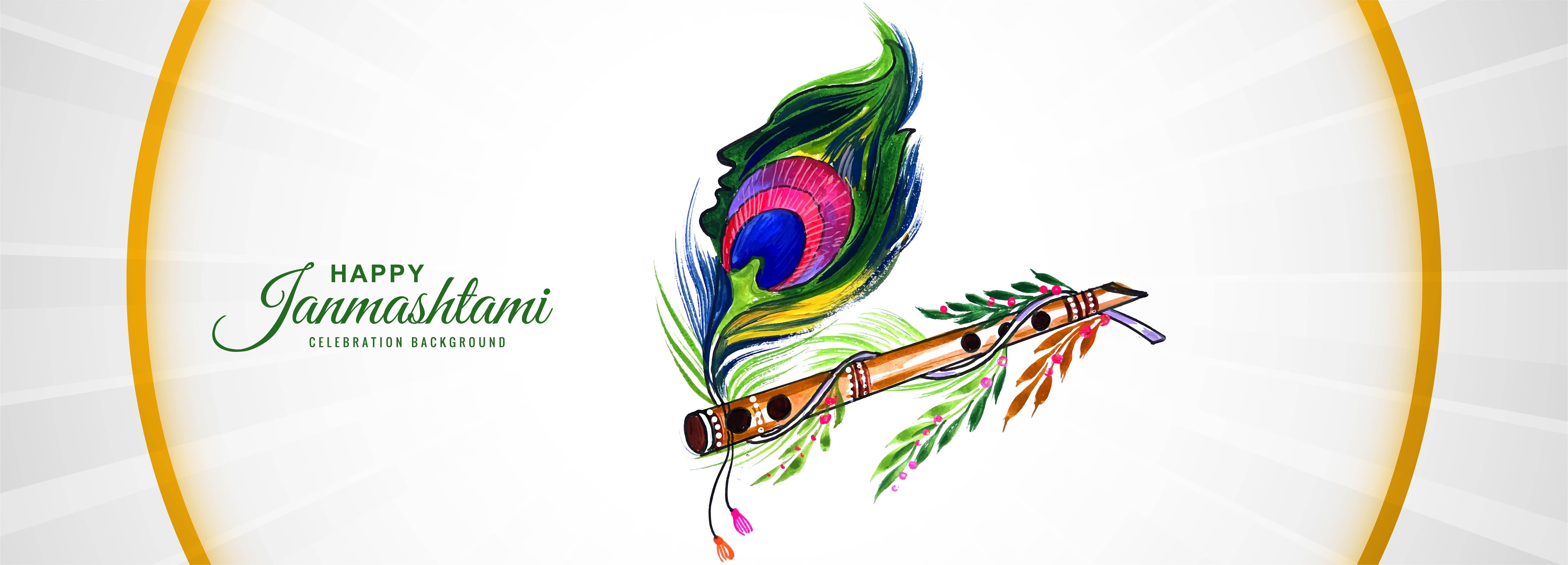 fondo de la bandera del festival shree krishna janmashtami
