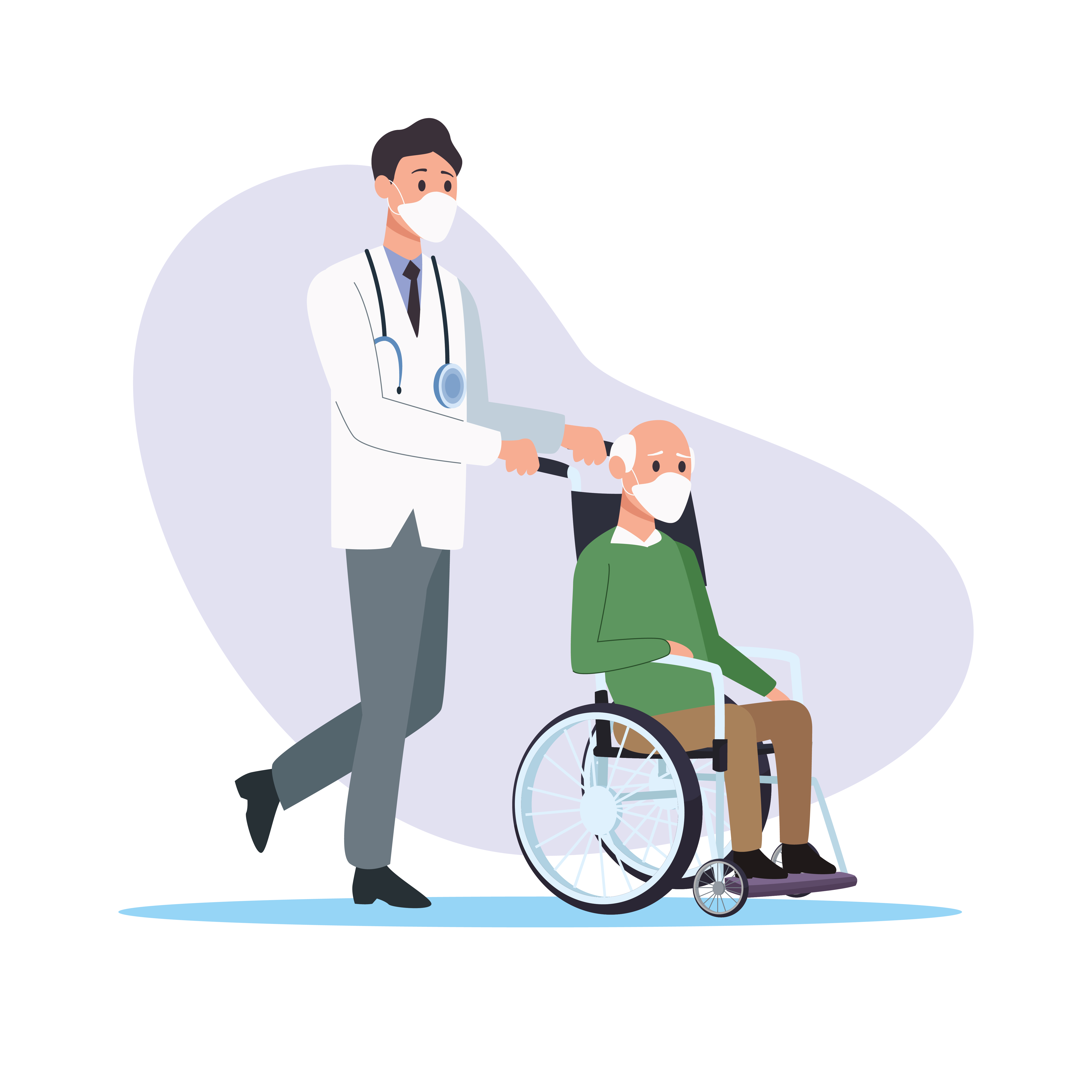 Doctor with old man in wheelchair vector