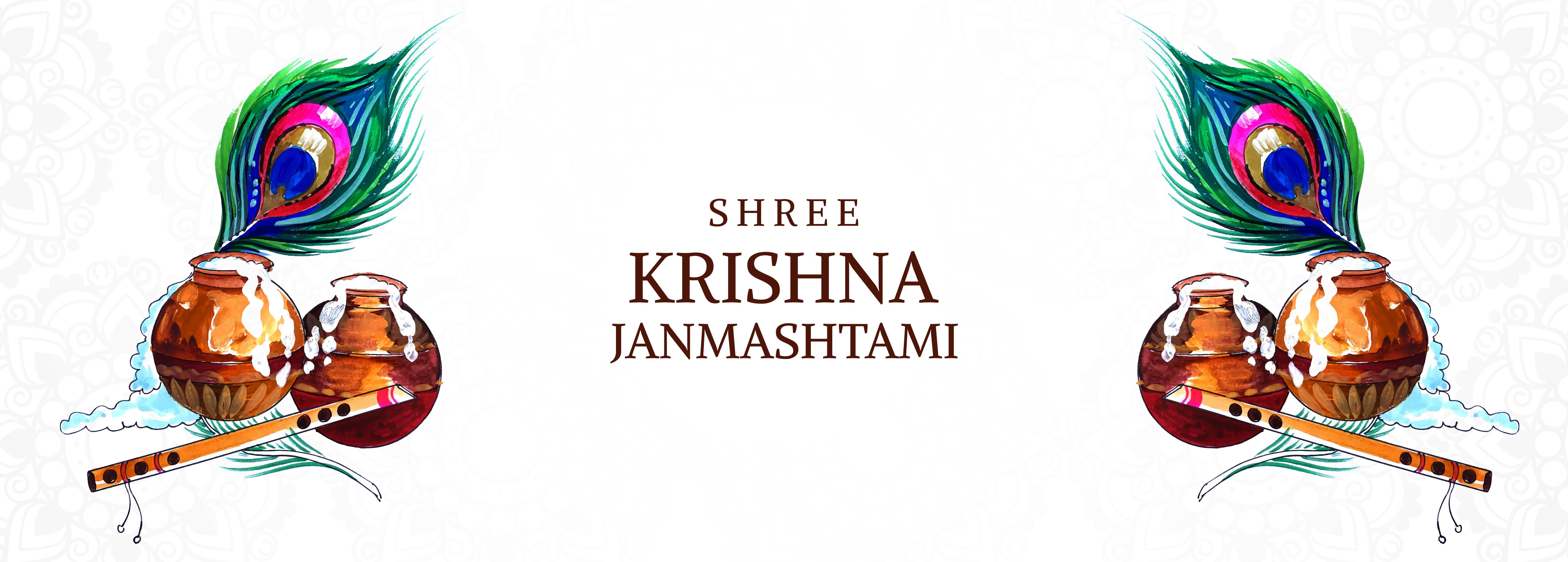 banner krishna janmashtami con tarjeta dahi handi