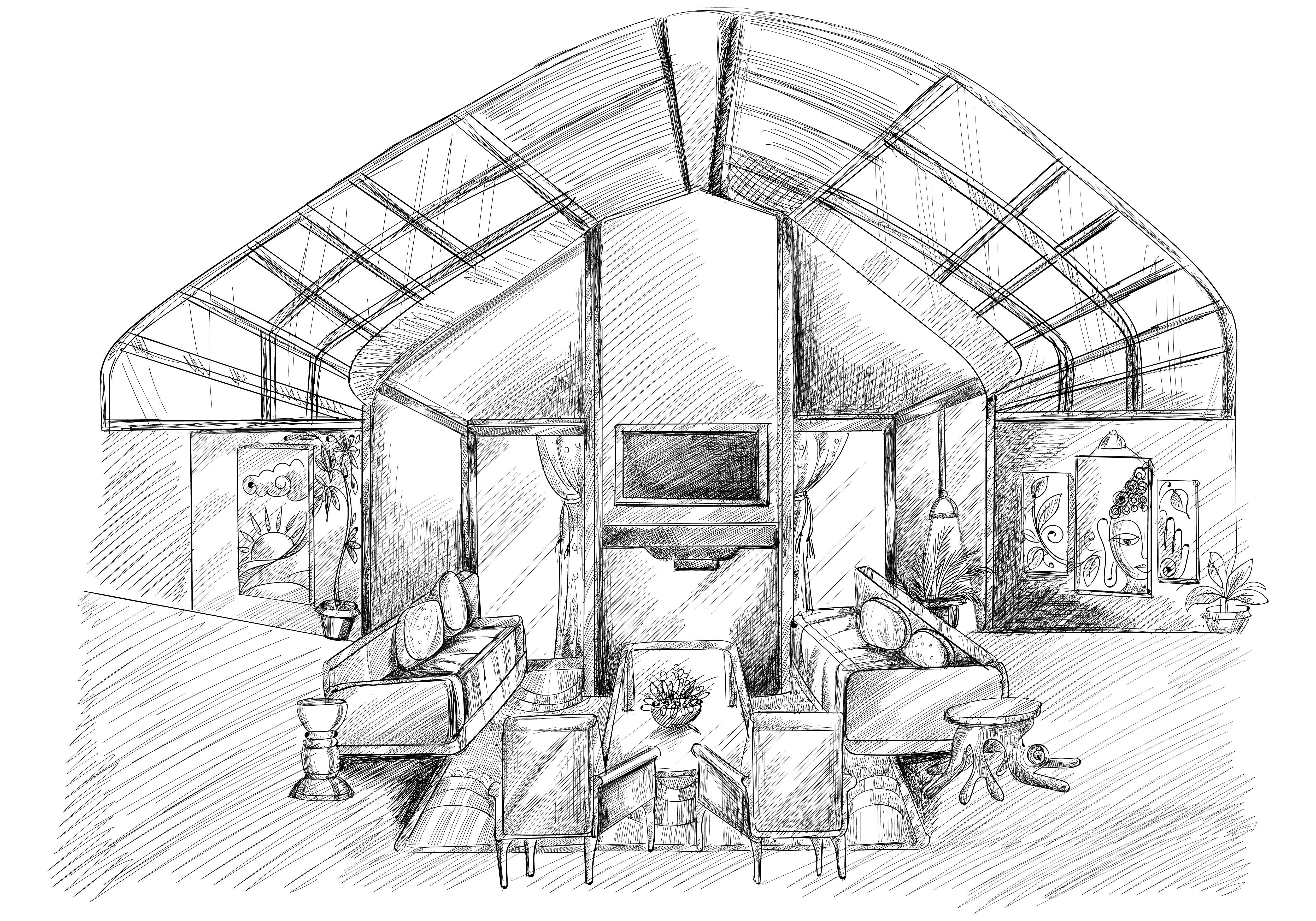 Hand Drawn Home Den Interior Sketch Design vector