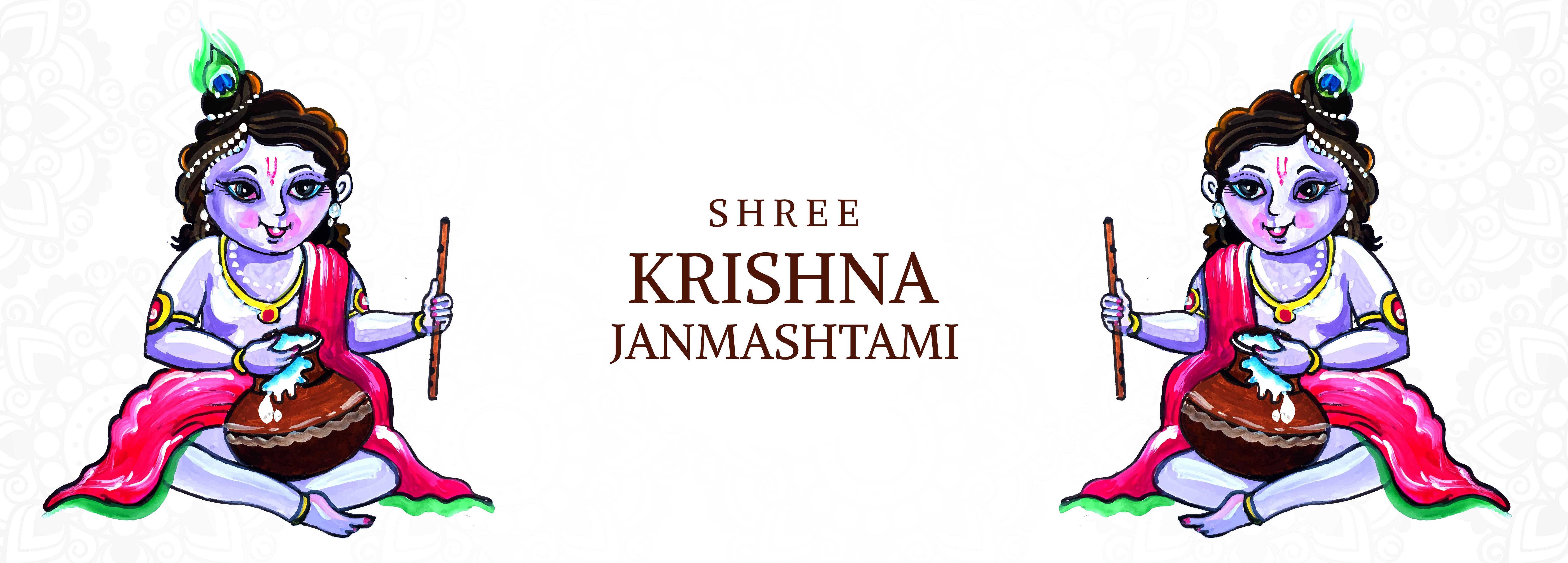 feliz krishna janmashtami señor krishna sentado con olla, flauta