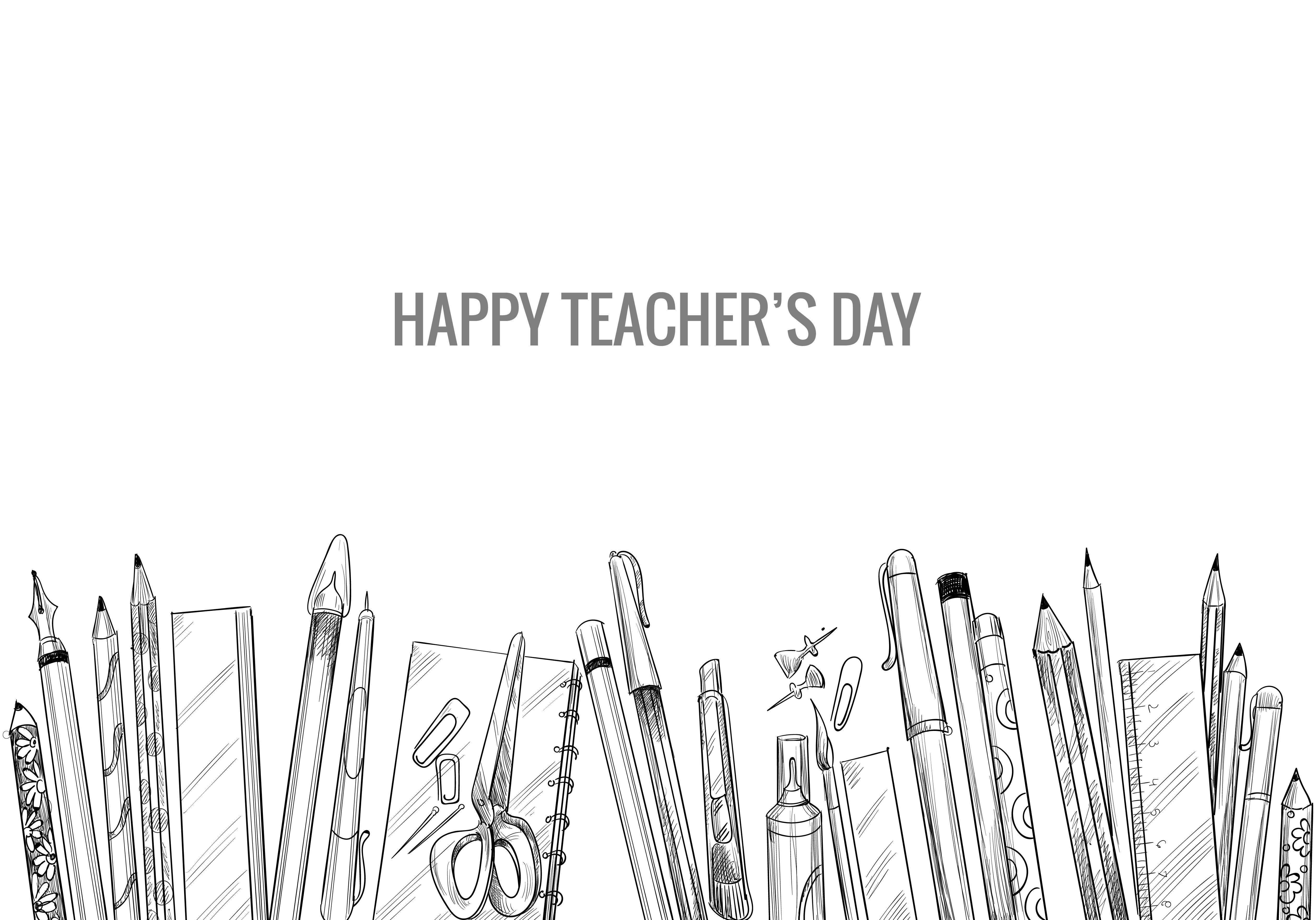 Hand Drawn Art Sketch with World Teachers Day Composition vector