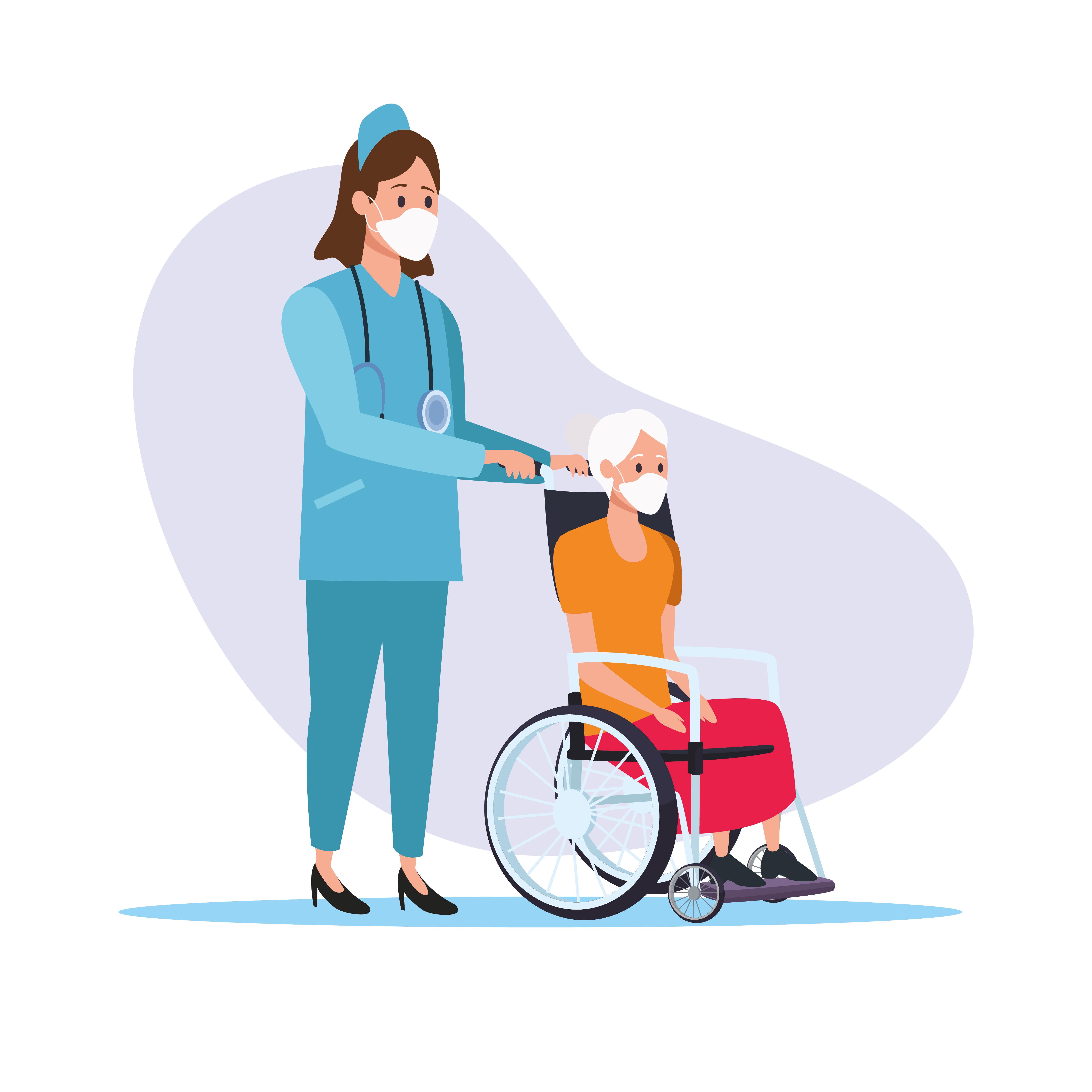 Nurse with old woman vector