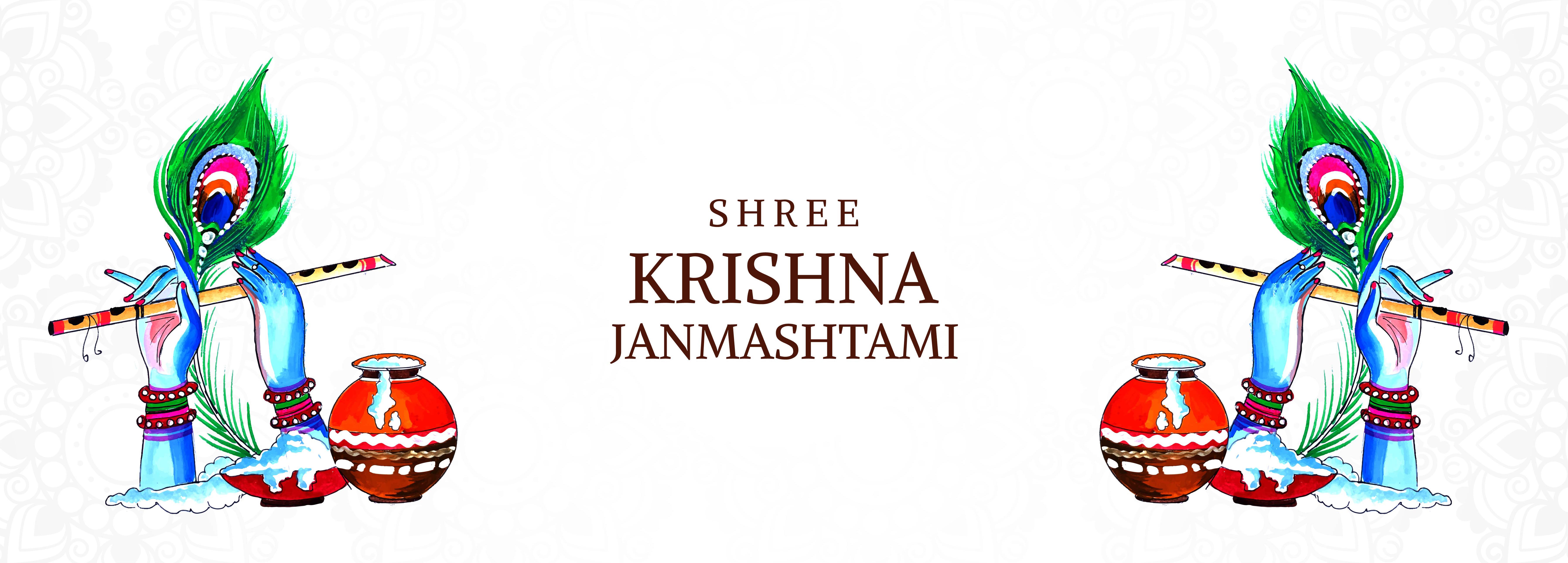 festival feliz krishna janmashtami manos y banner de flauta
