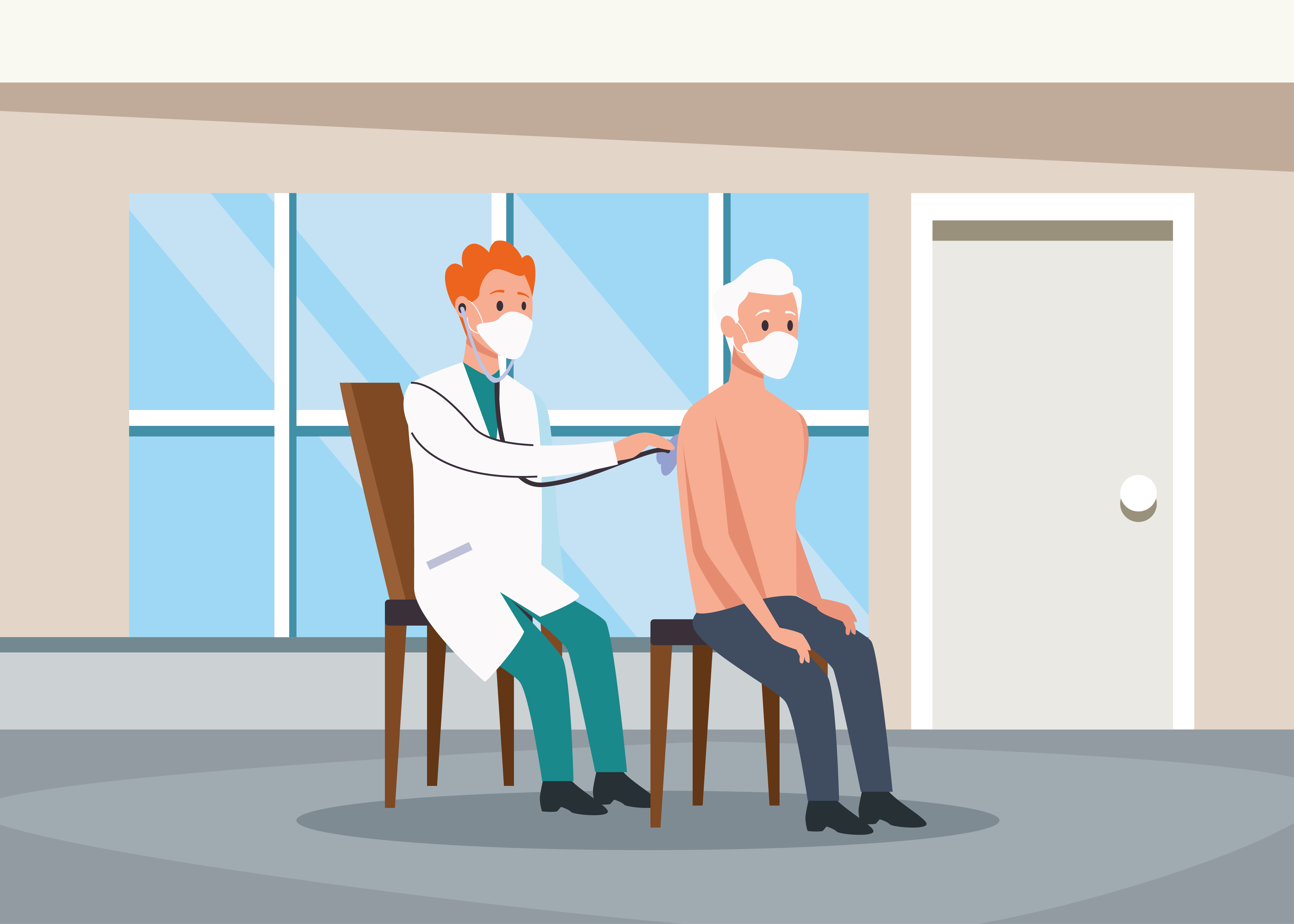 Doctor exams elderly person characters vector