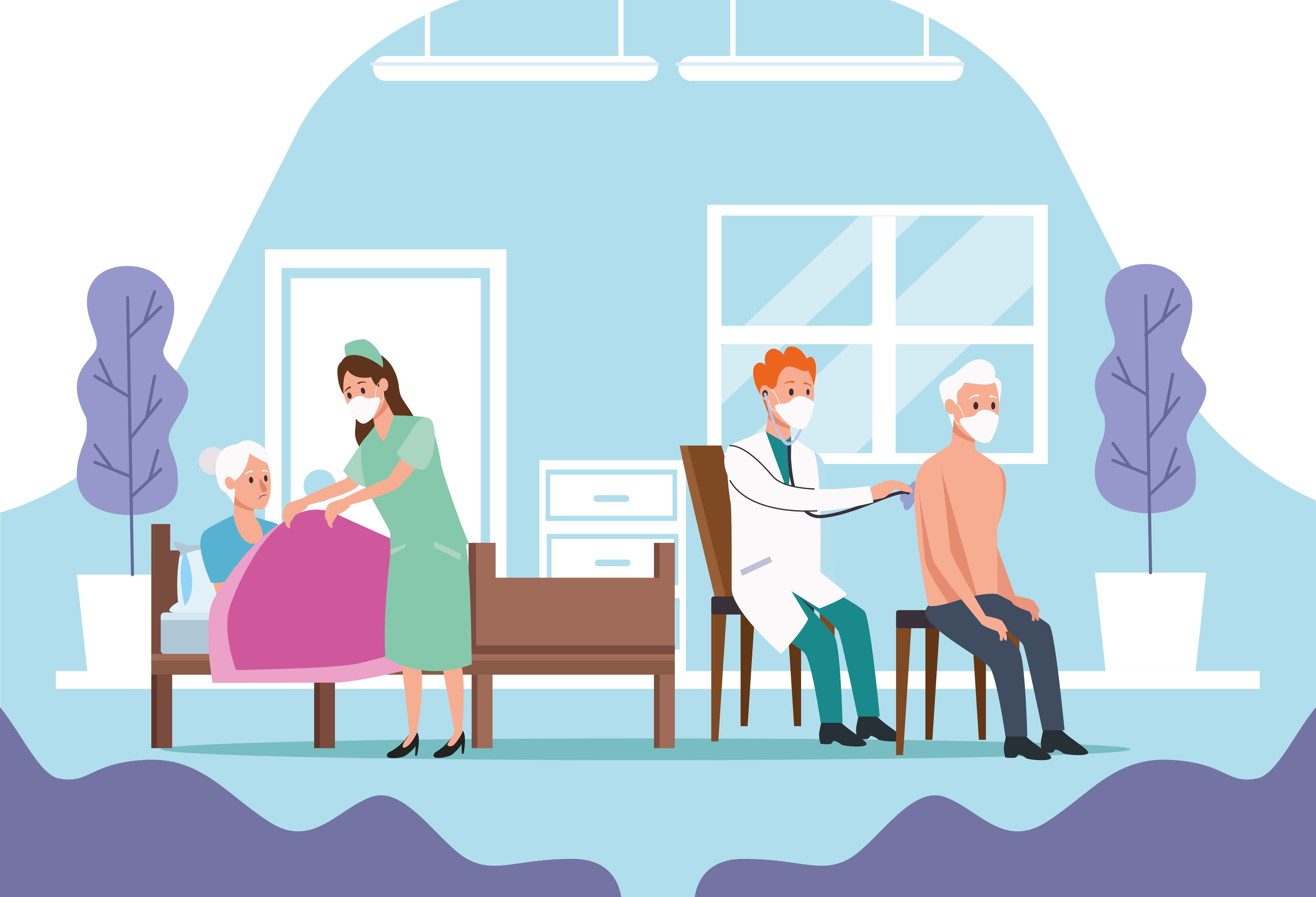 Medical staff protecting elderly couple characters vector