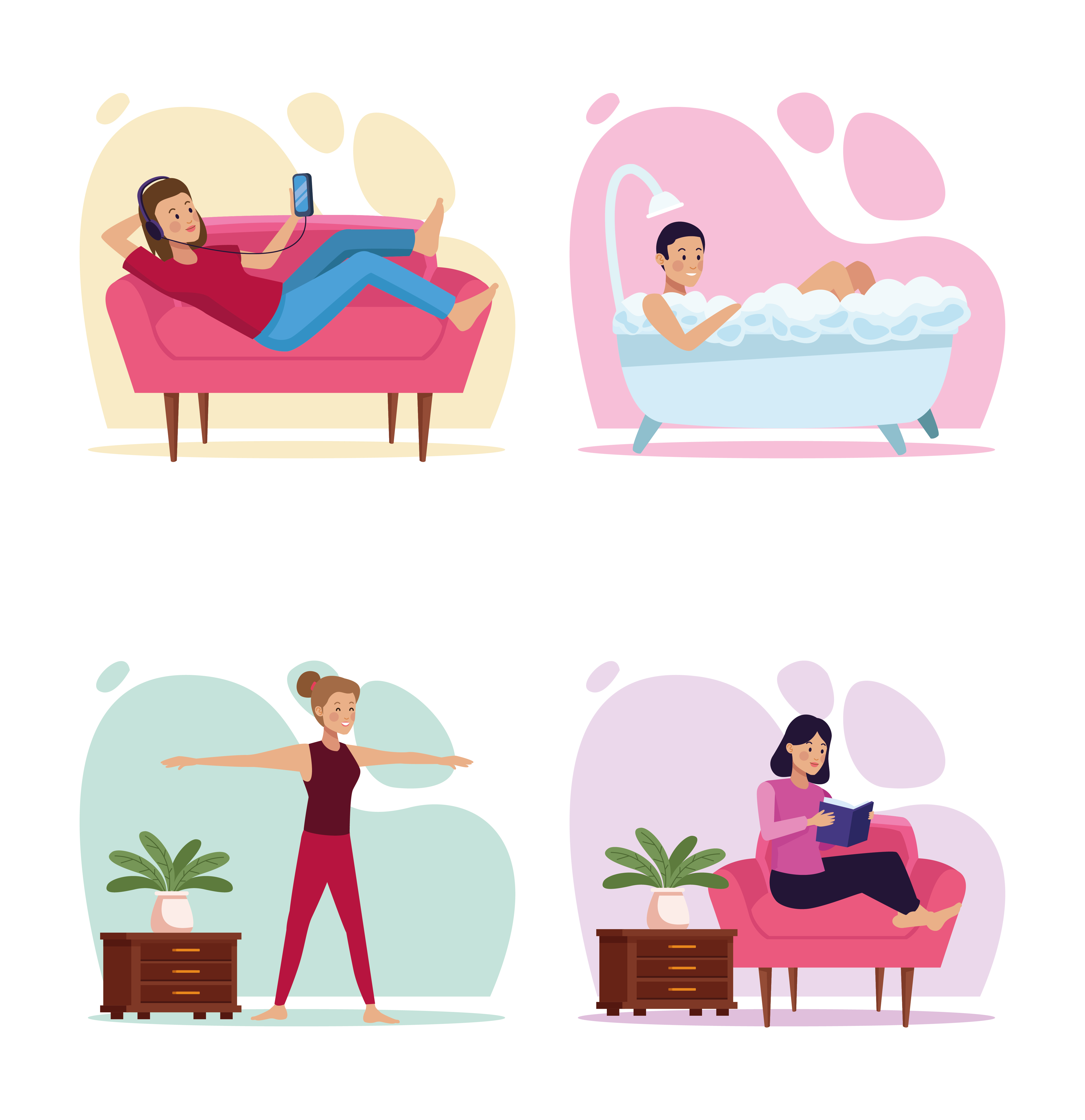 Set of scenes of people in quarantine house places vector