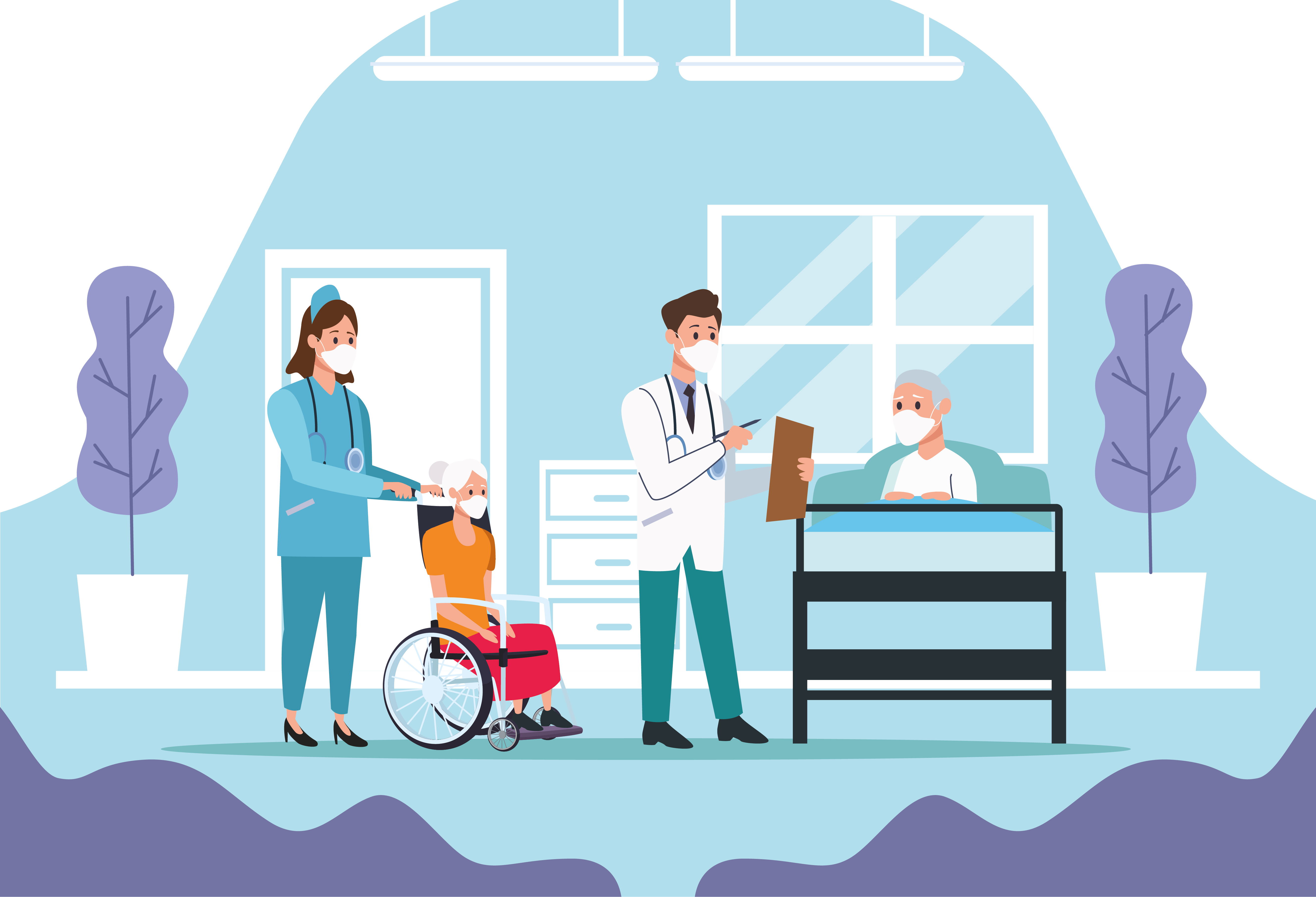 Medical staff taking care of elderly couple characters vector
