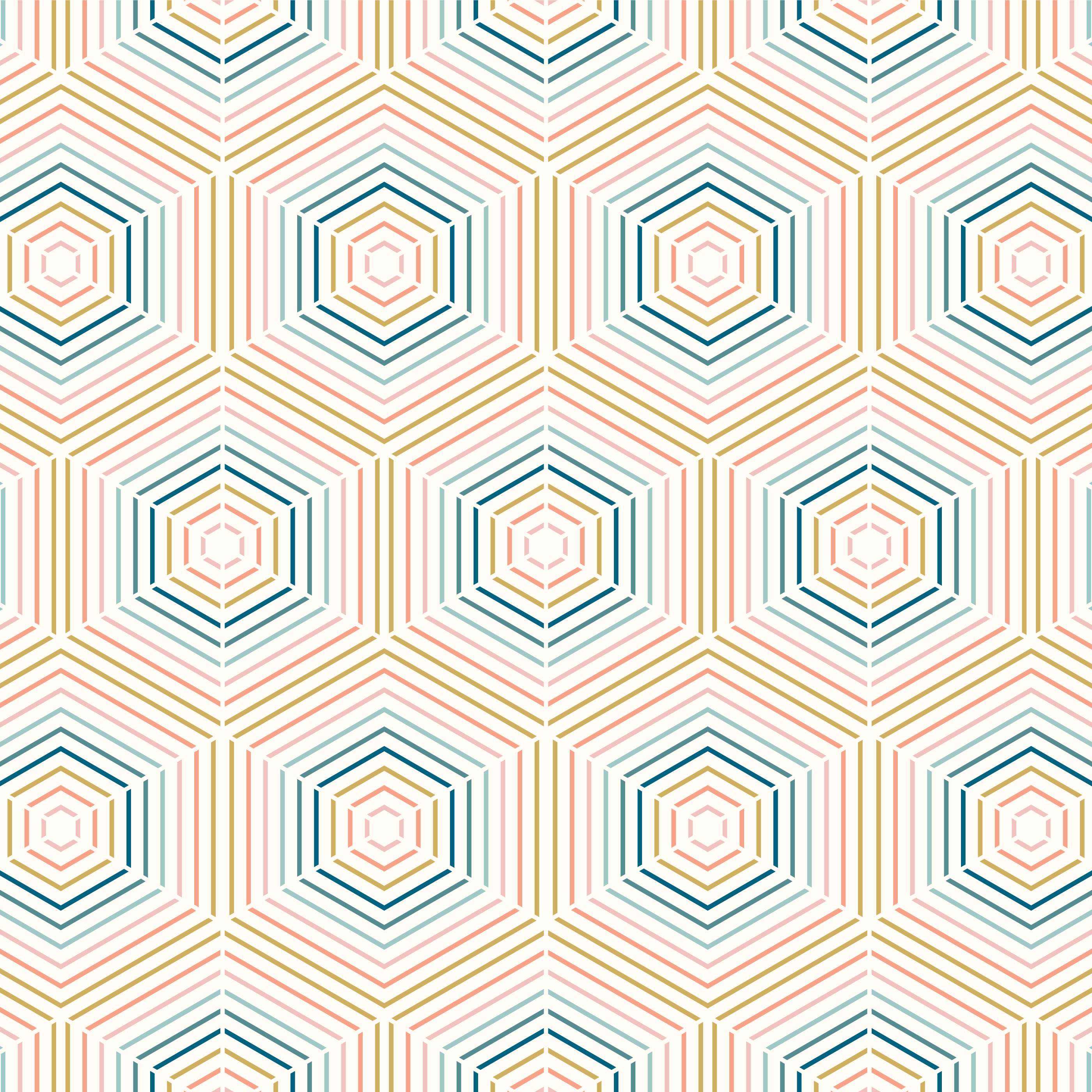 Geometric Colorful Line Hexagon Seamless Pattern vector