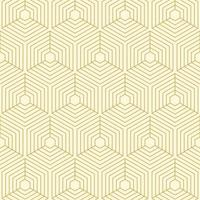 Geometric Gold Line Cubes Seamless Pattern vector