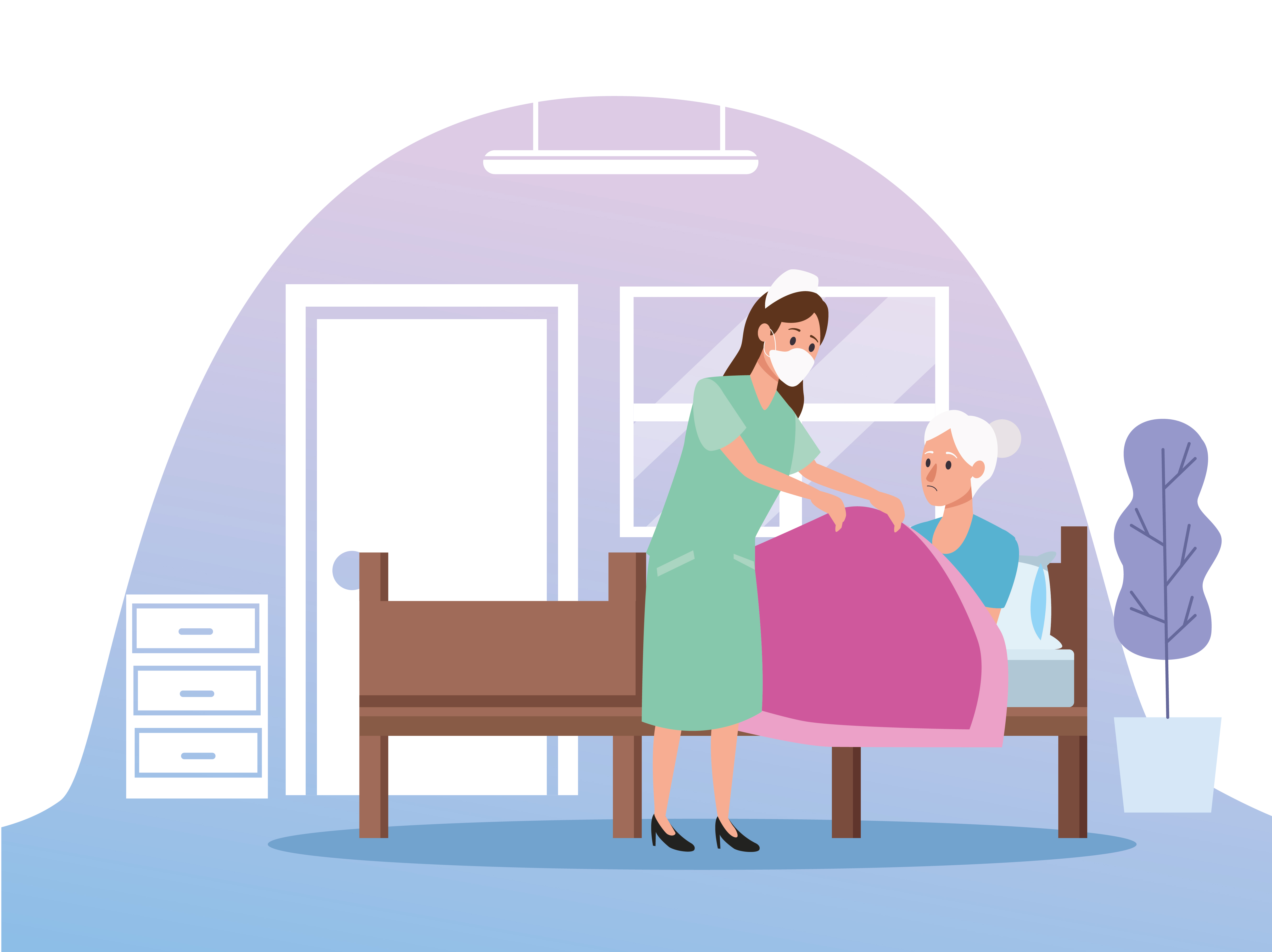 Nurse protecting elderly woman person characters vector
