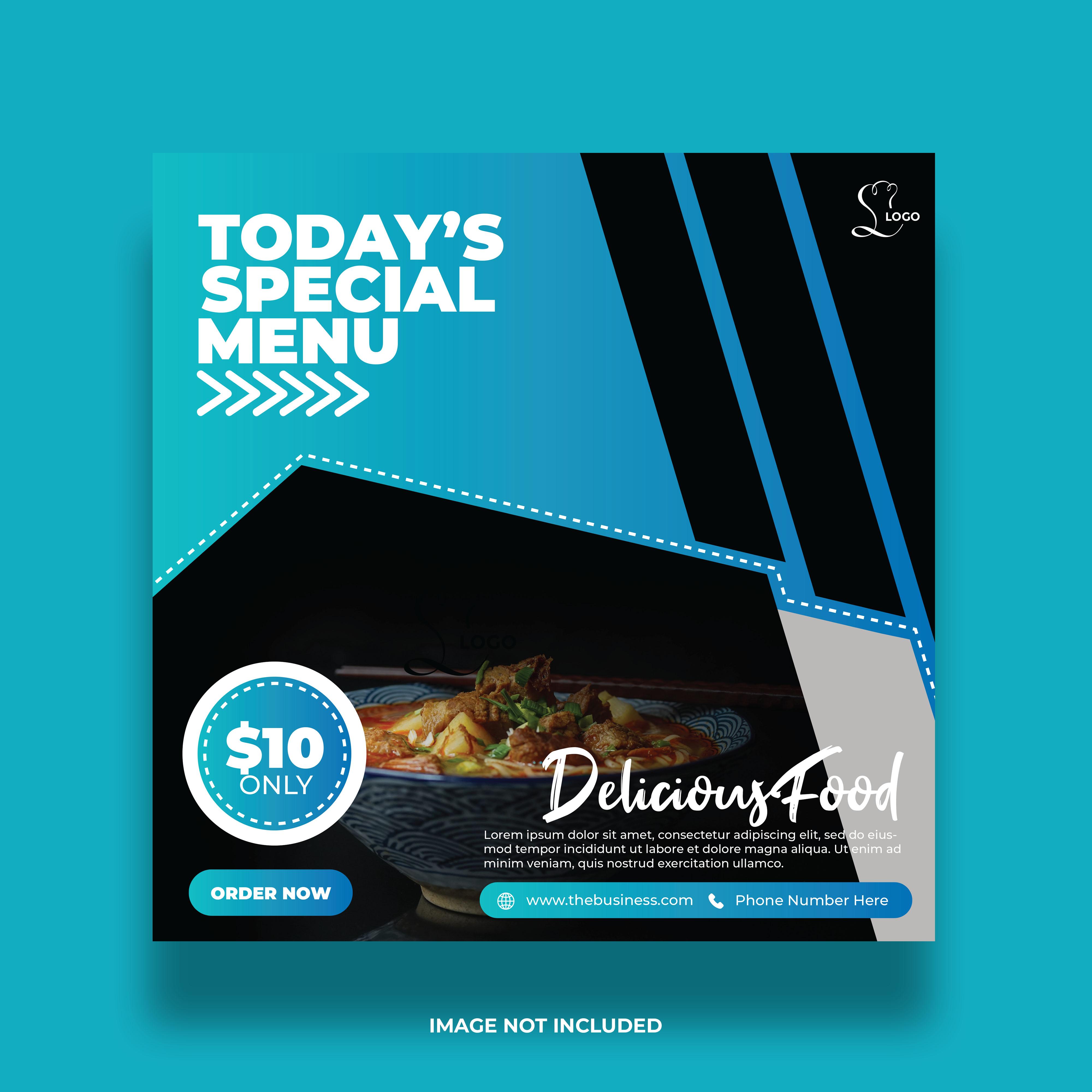 Delicious Restaurant Menu Social Media Banner