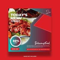 Colorful Delicious Restaurant Food Banner For Social Media vector