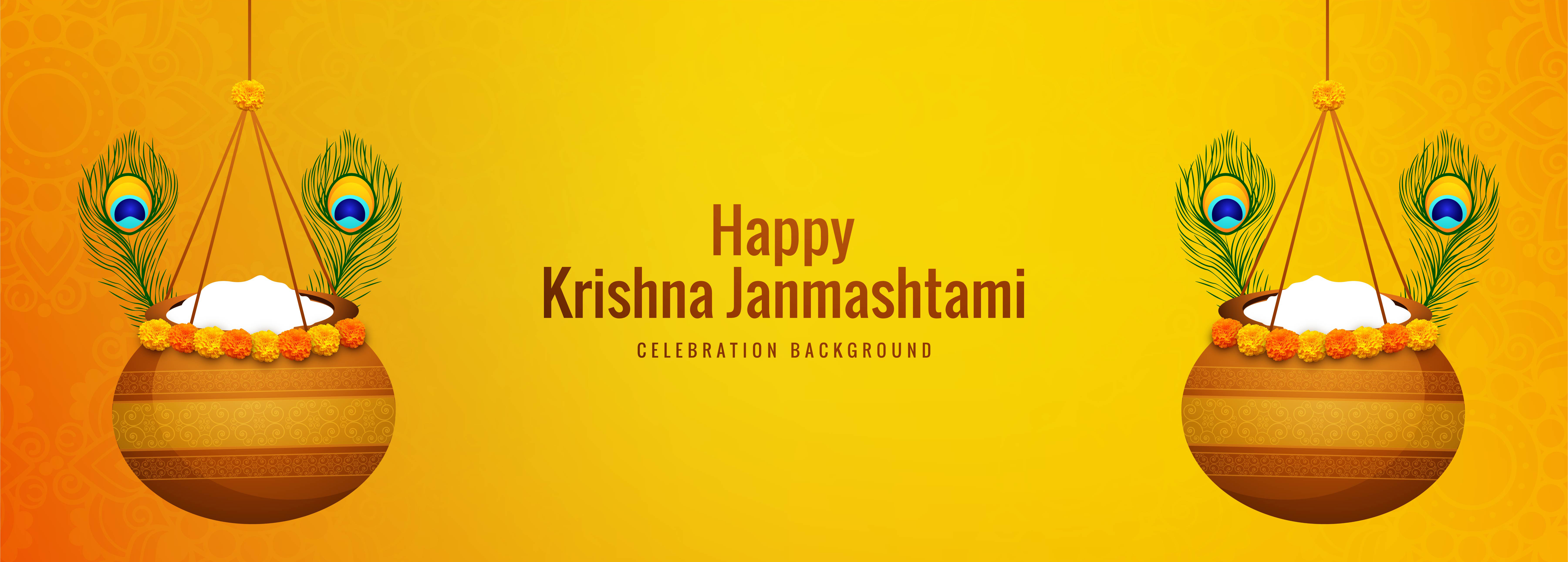 Happy Janmashtami Two Hanging Pots Banner Background