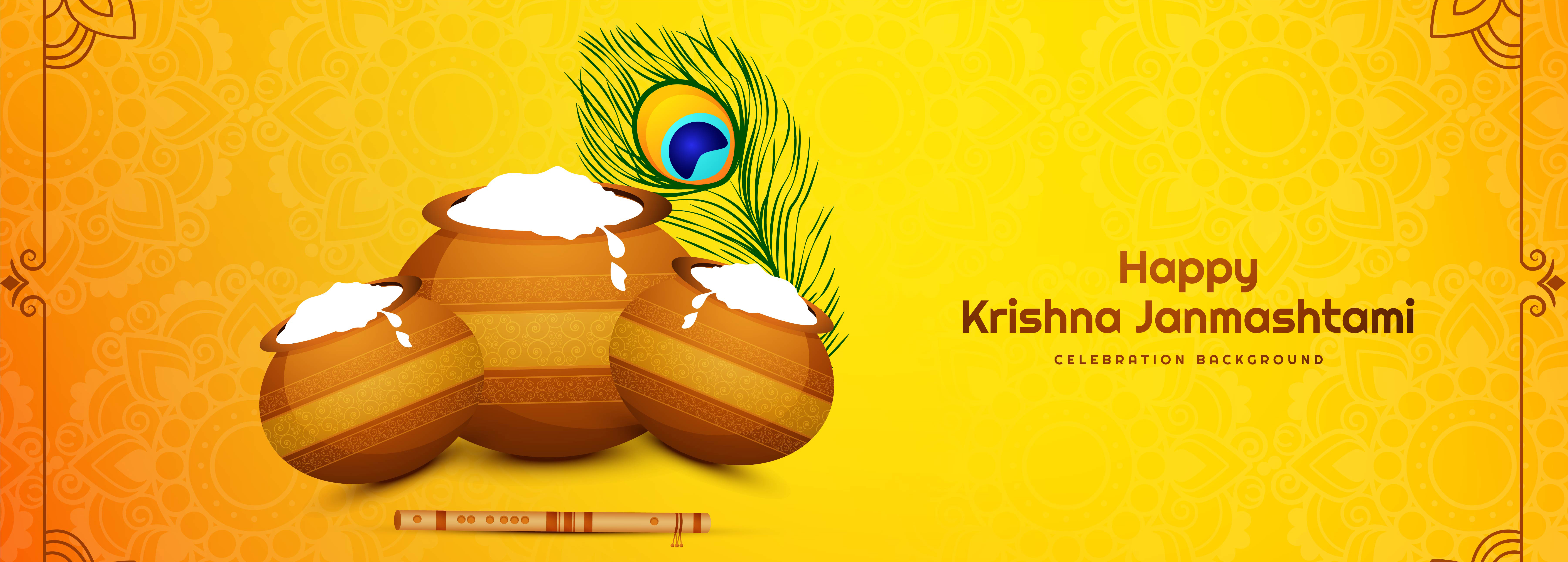 Happy Janmashtami Festival Card Banner with Pots