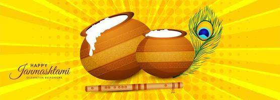 Happy Janmashtami with Pots Greeting Card Banner Background vector