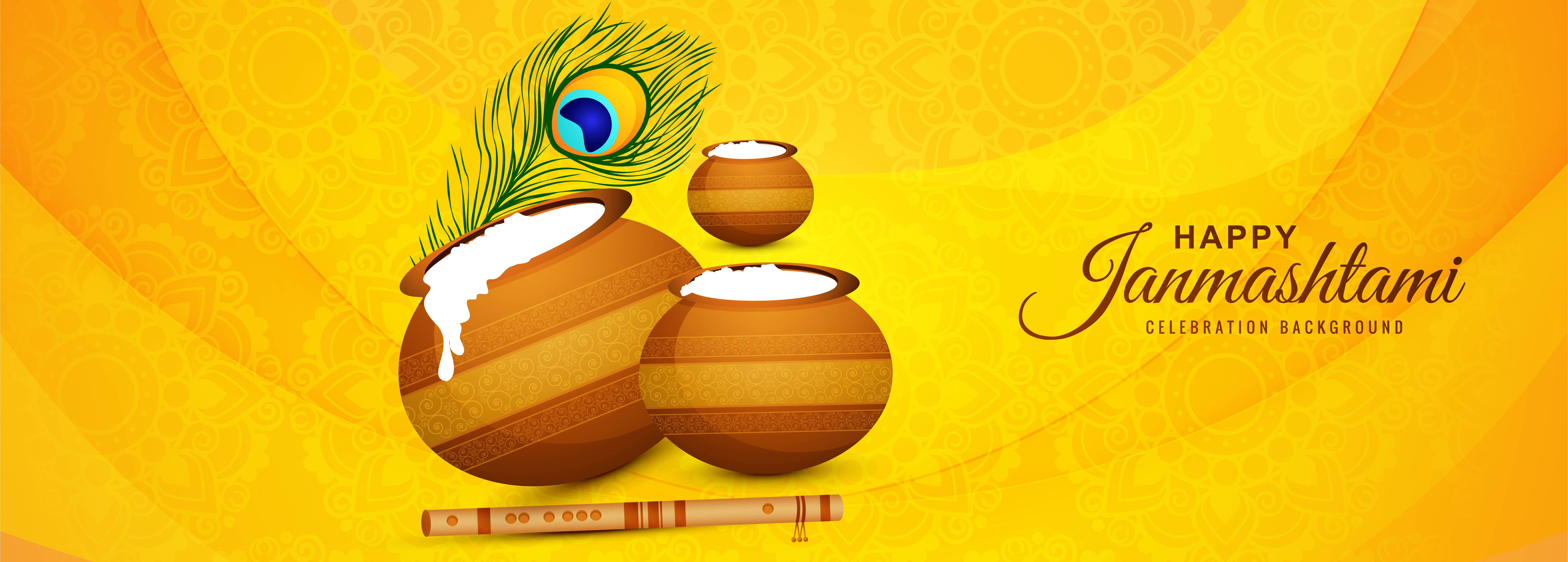 Happy Janmashtami with Pots Greeting Card Banner on Yellow