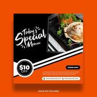Minimal Orange and Black Delicious Food Social Media Banner vector