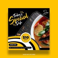 Yellow, Black and White Food Discount Social Media Post vector