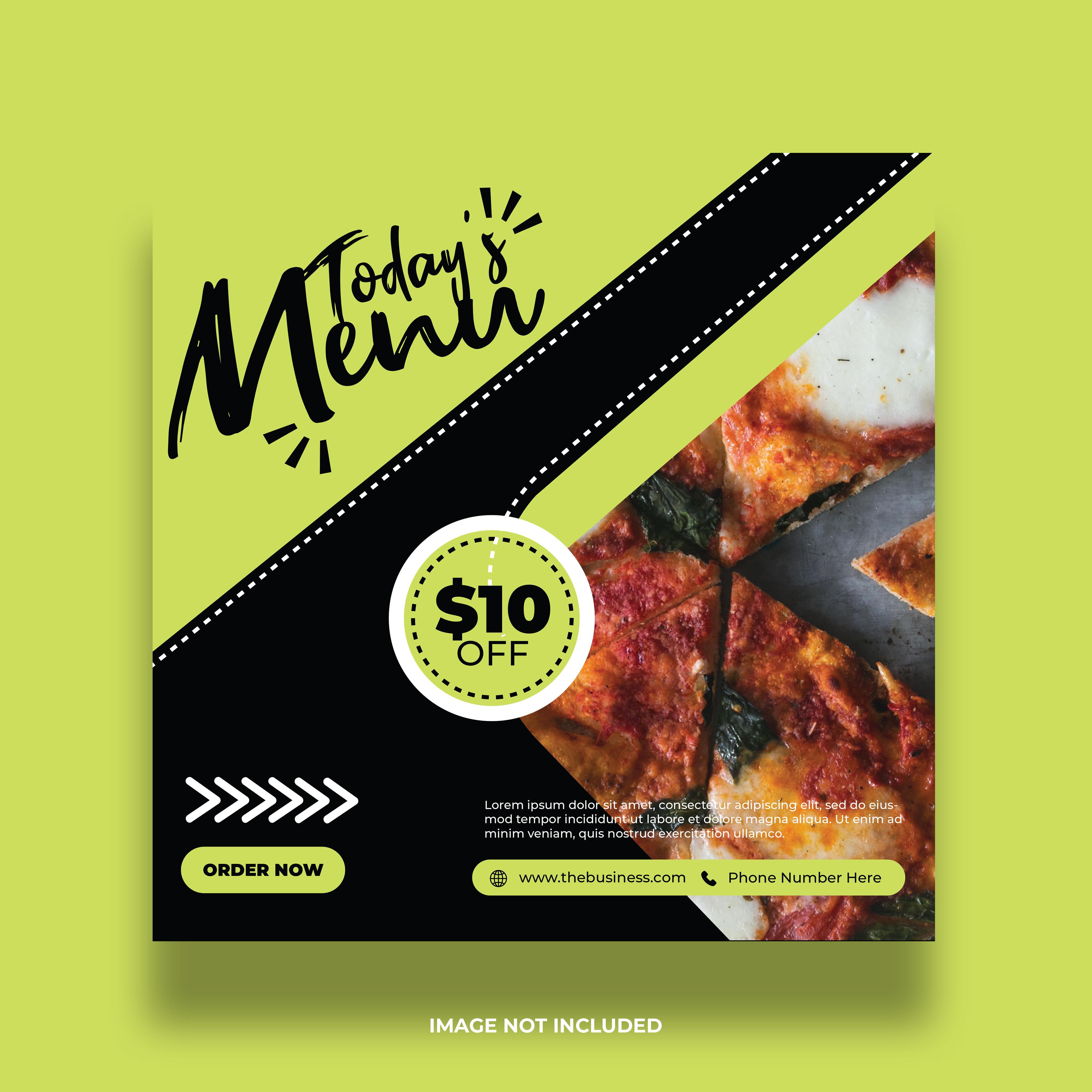 Green and Black Social Media Food Post Banner vector