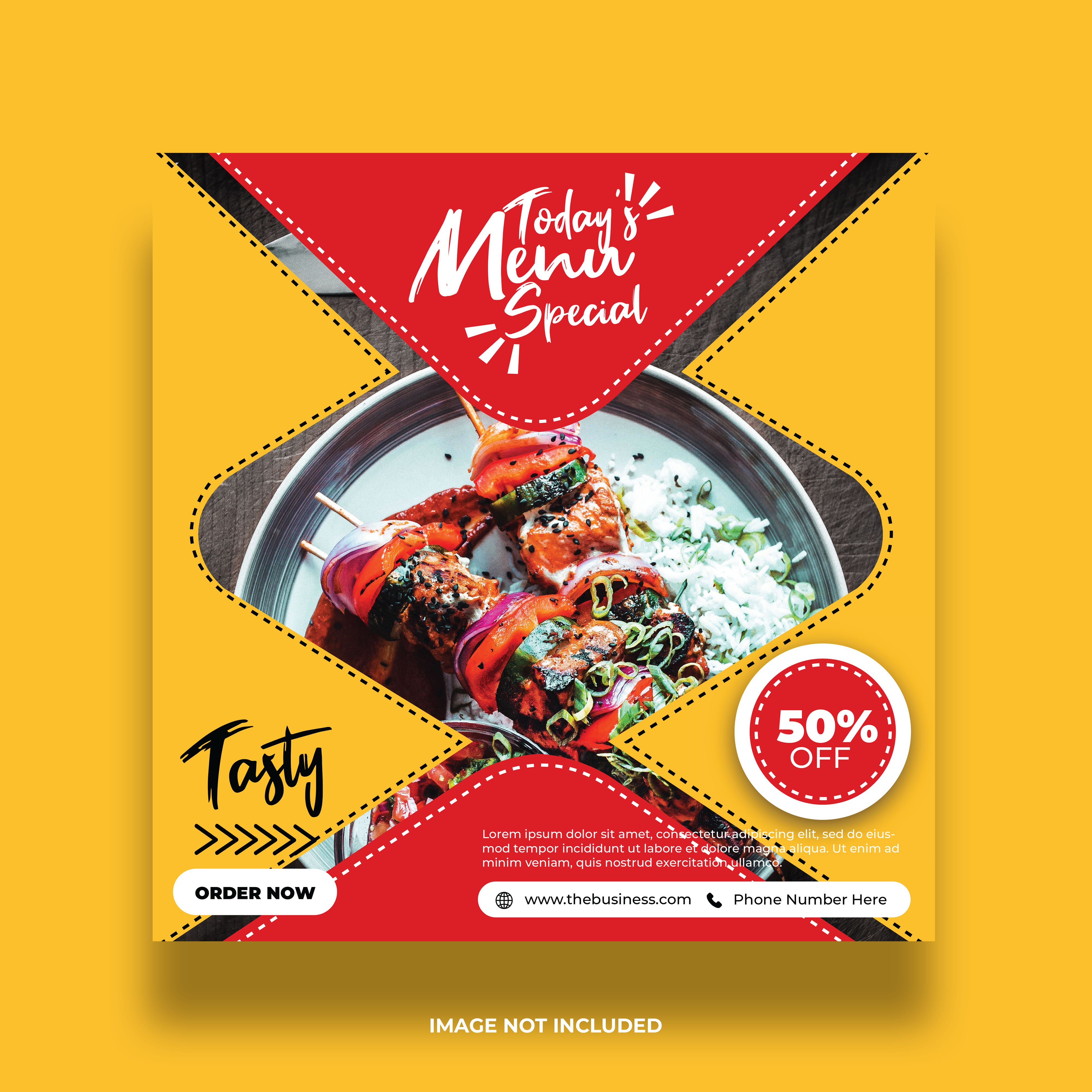 Yellow Colorful Restaurant Food Banner For Social Media Post