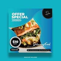 Blue Gradient Modern Food Banner For Social Media vector