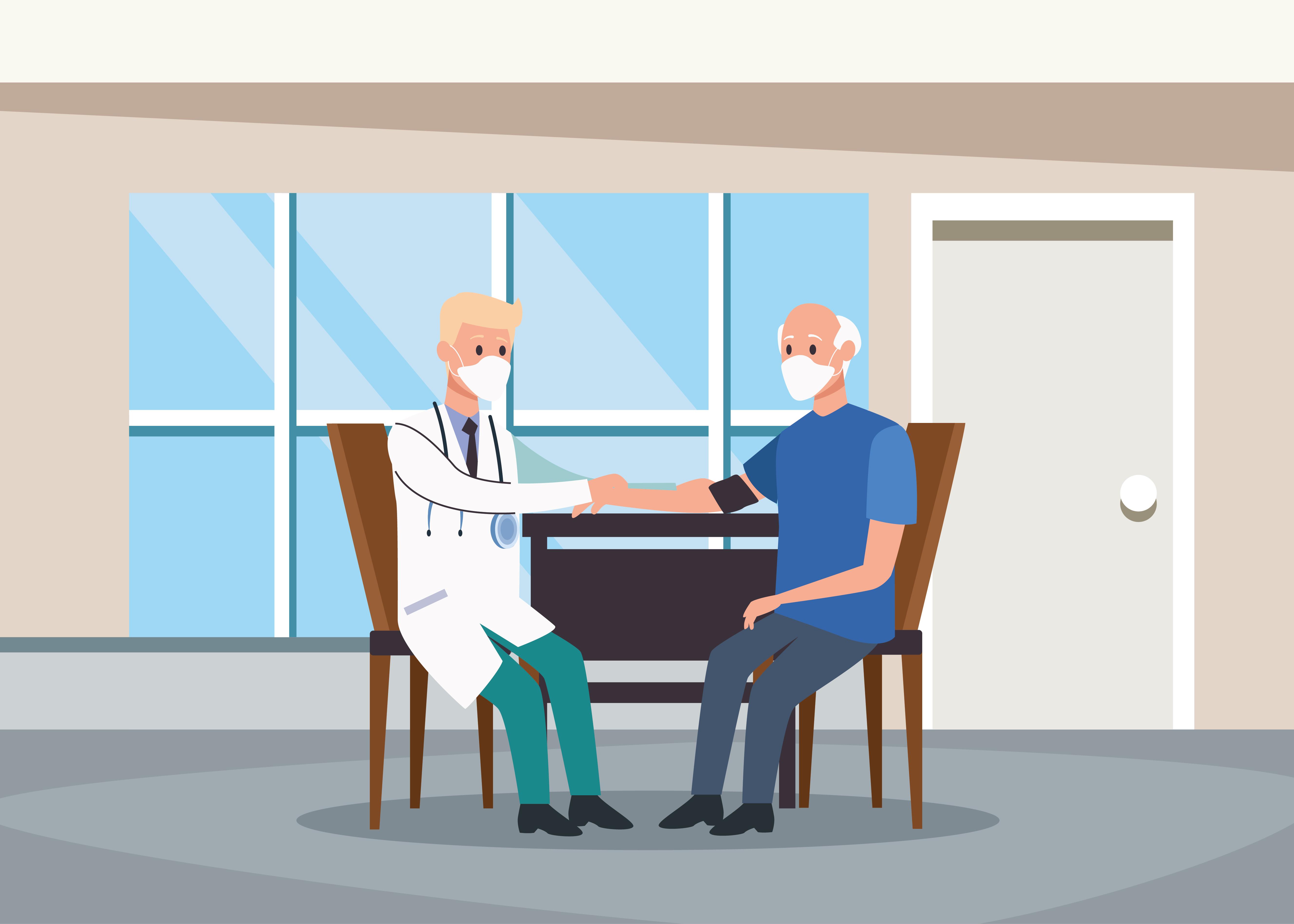 doctor examinando personajes de personas mayores