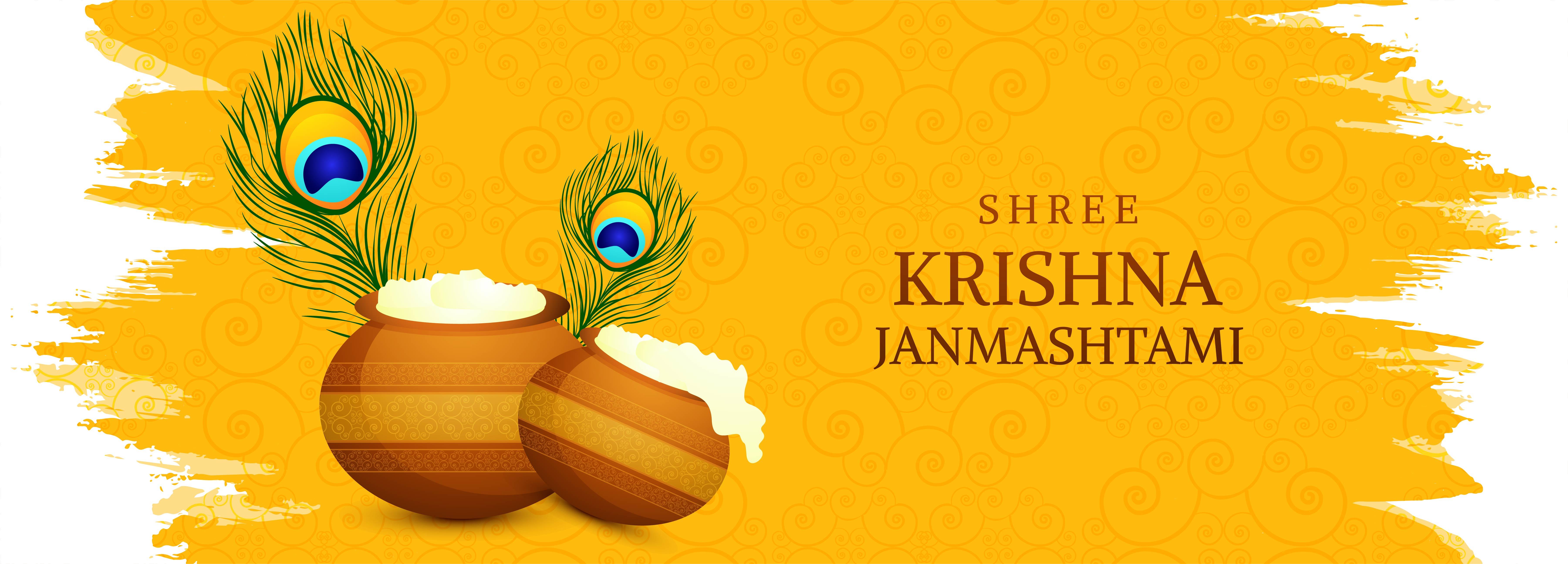 feliz tarjeta krishna janmashtami con banner de plumas y macetas