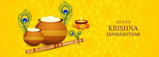 Shree Krishna Janmashtami Festival Card with Pots Banner vector