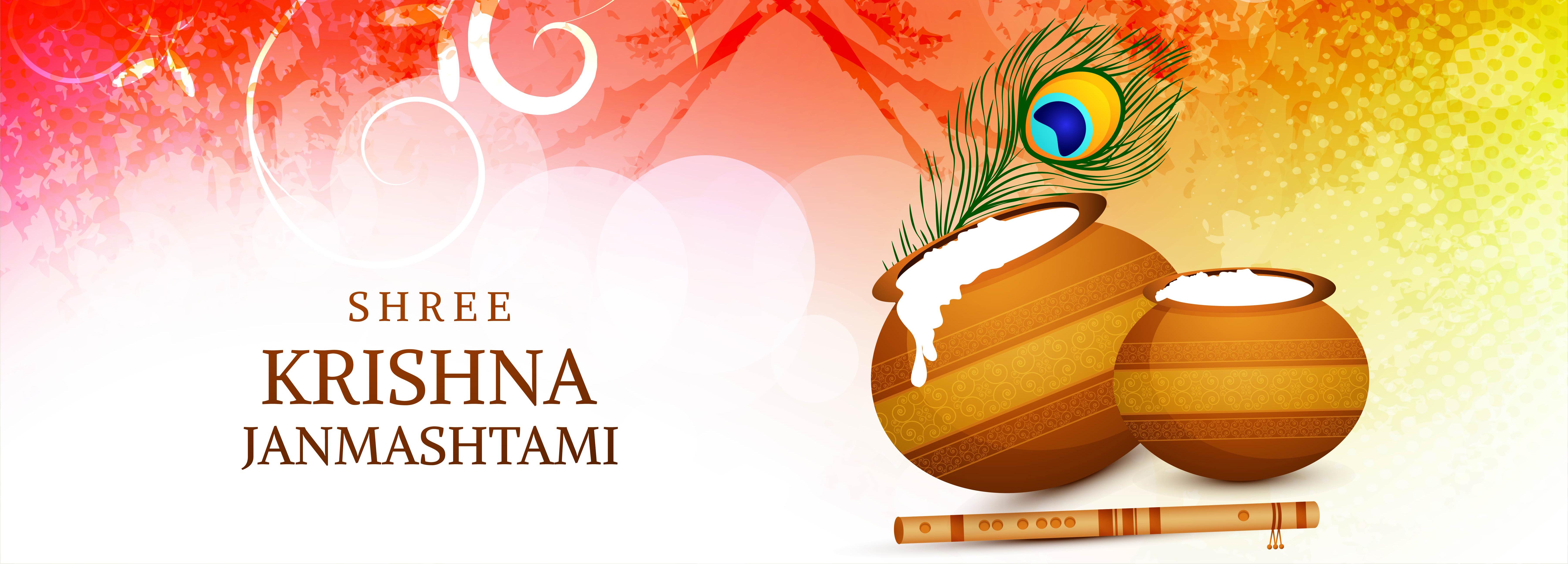 festival de janmashtami banner tarjeta de celebración en rojo, amarillo