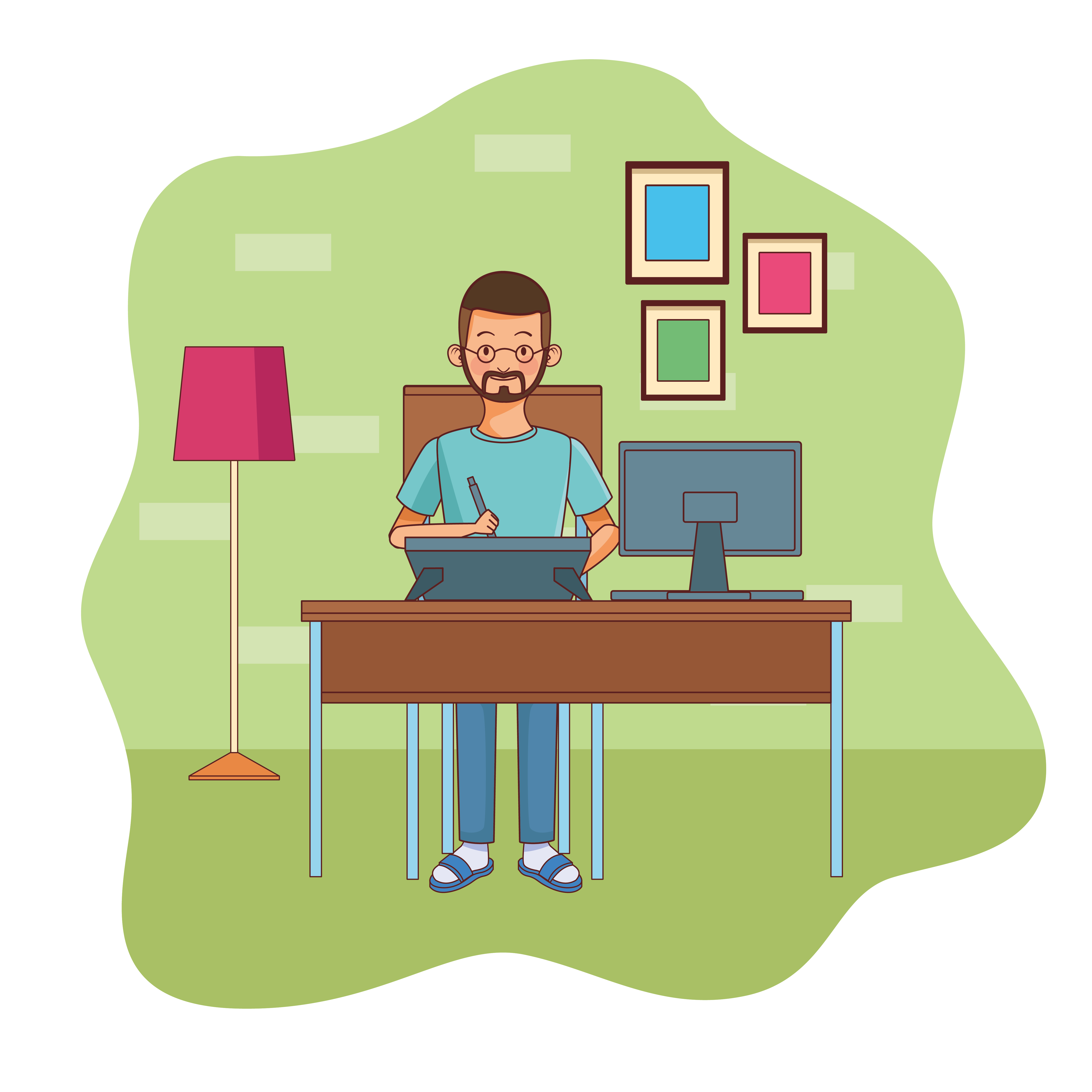 Young man working in home office