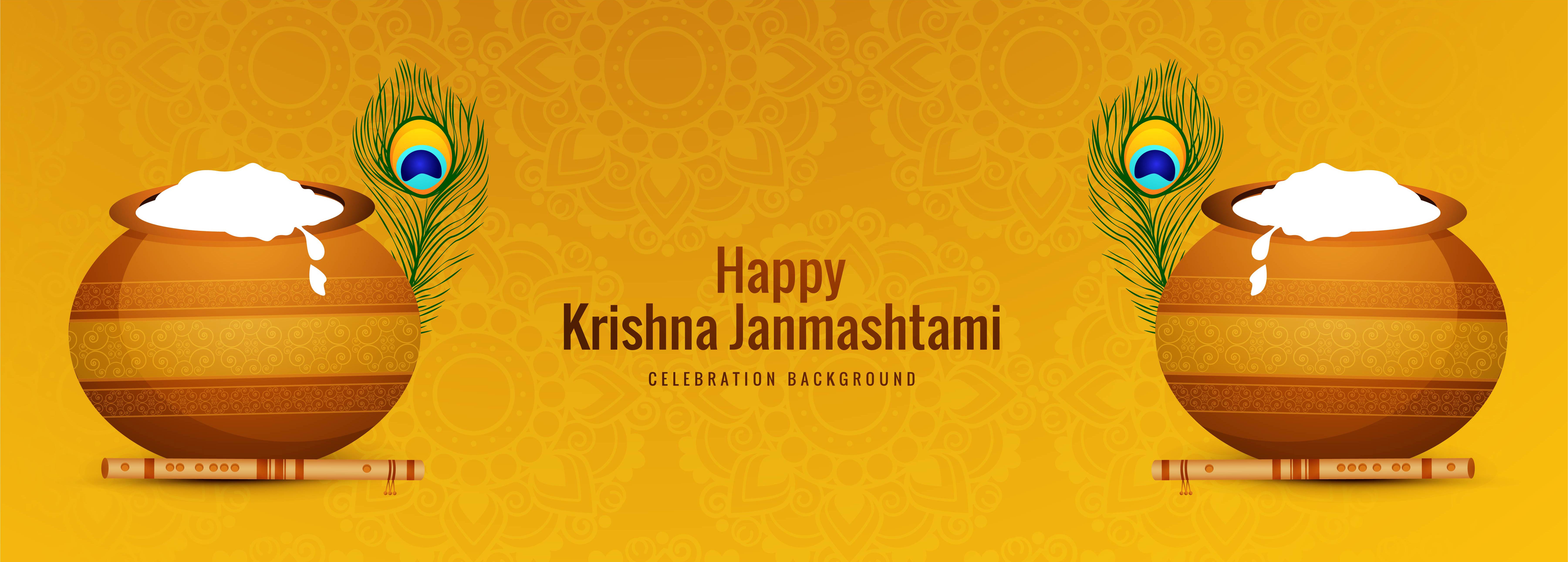 feliz celebración janmashtami tarjeta de banner religioso