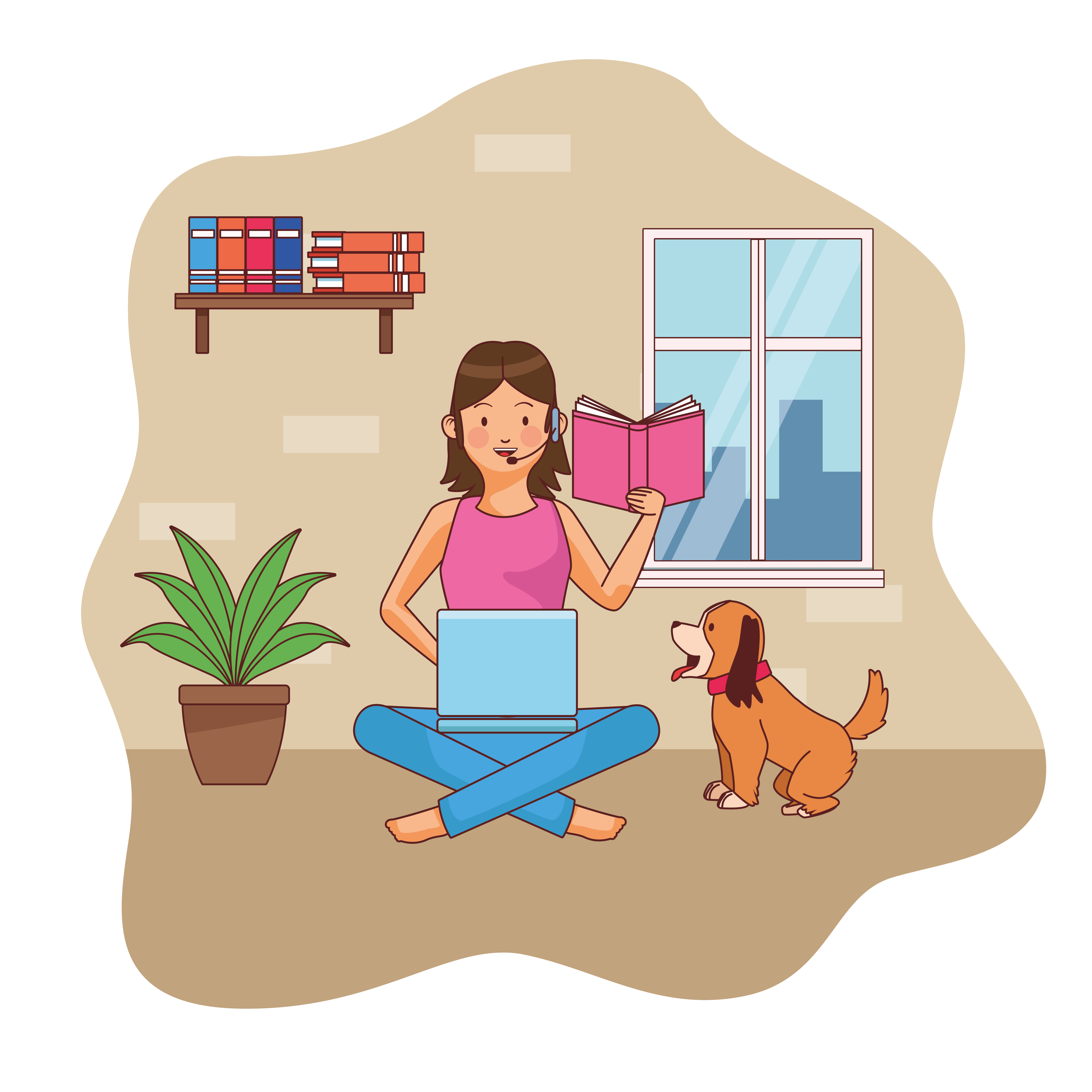 Young woman character at home office vector