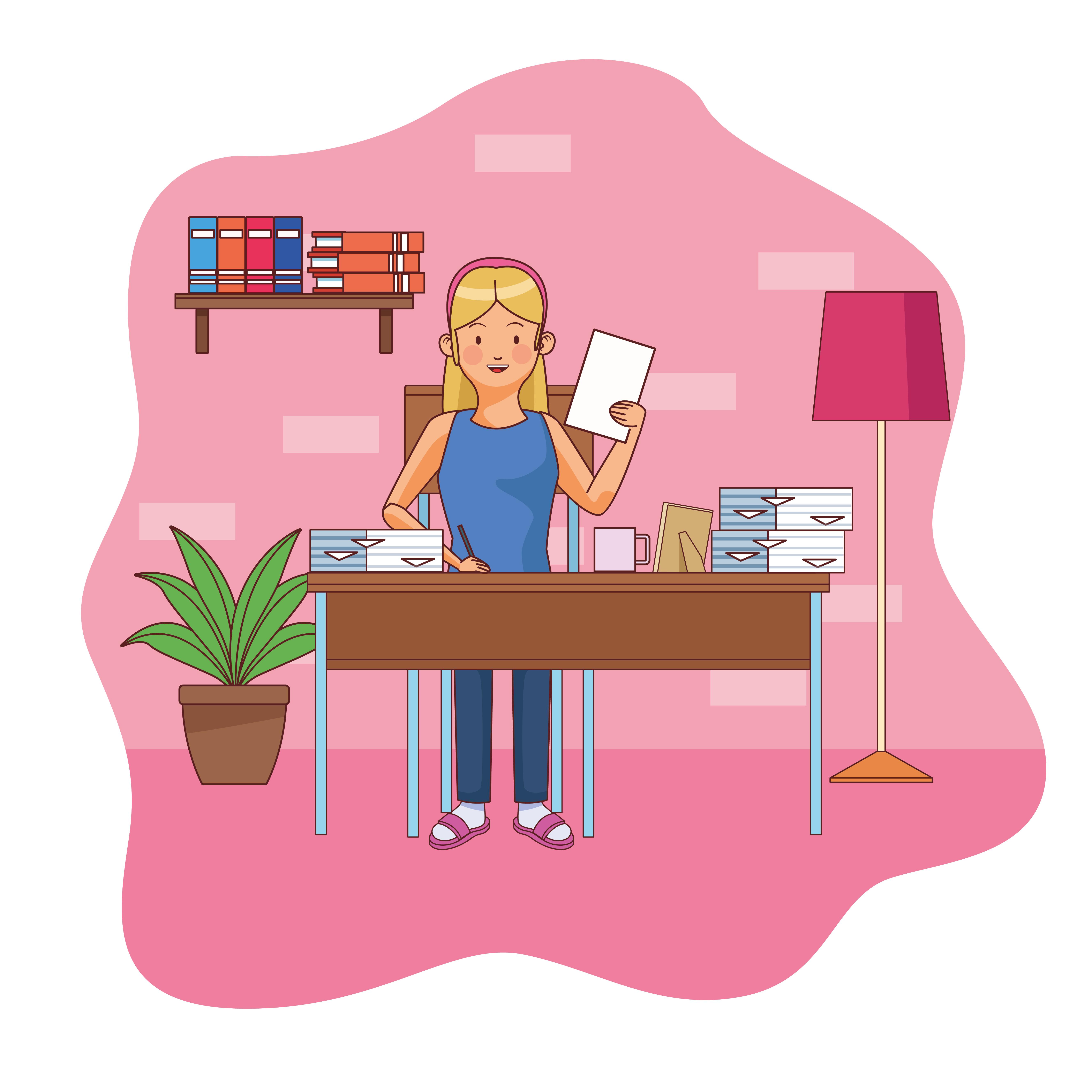 personaje de mujer joven trabajando desde casa