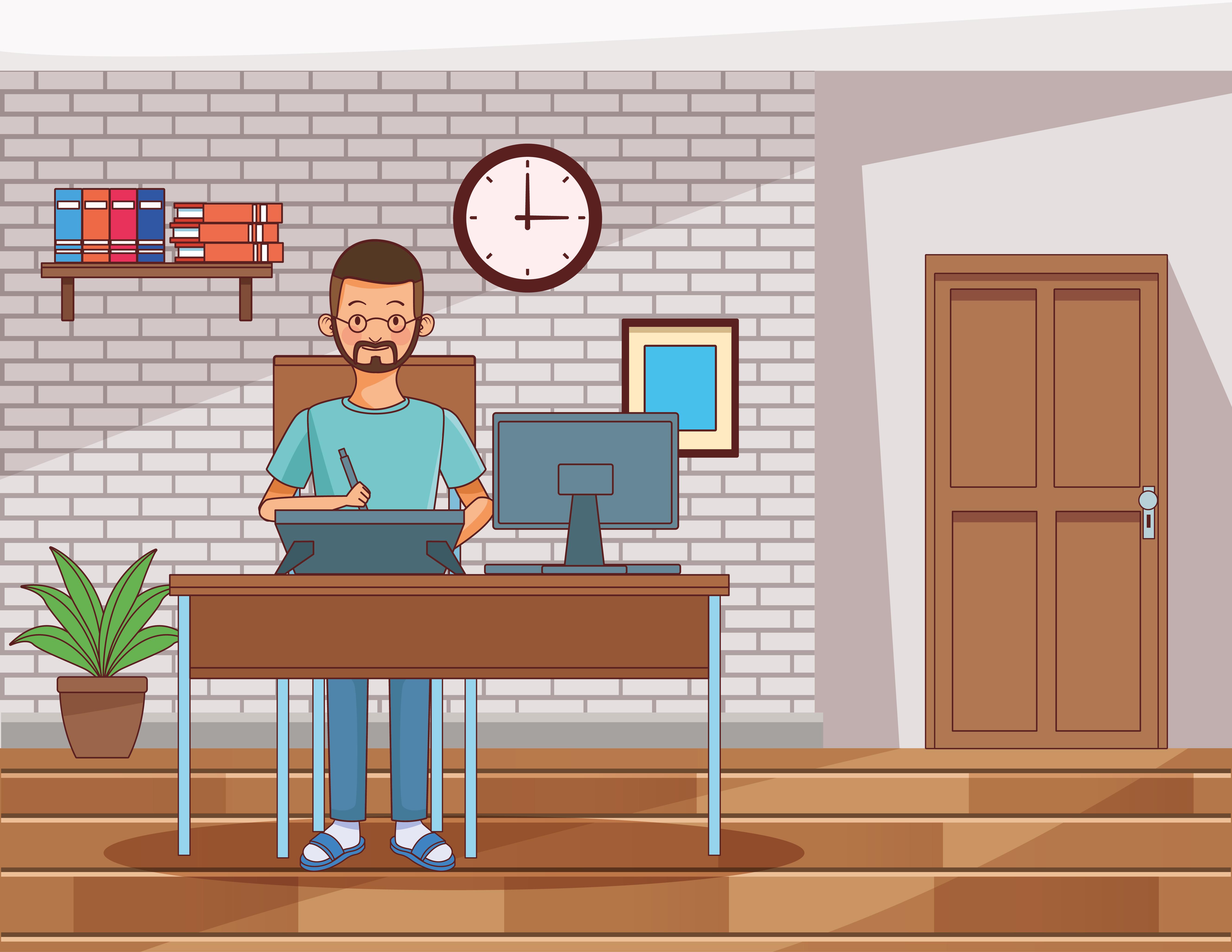 personaje joven trabajando desde casa