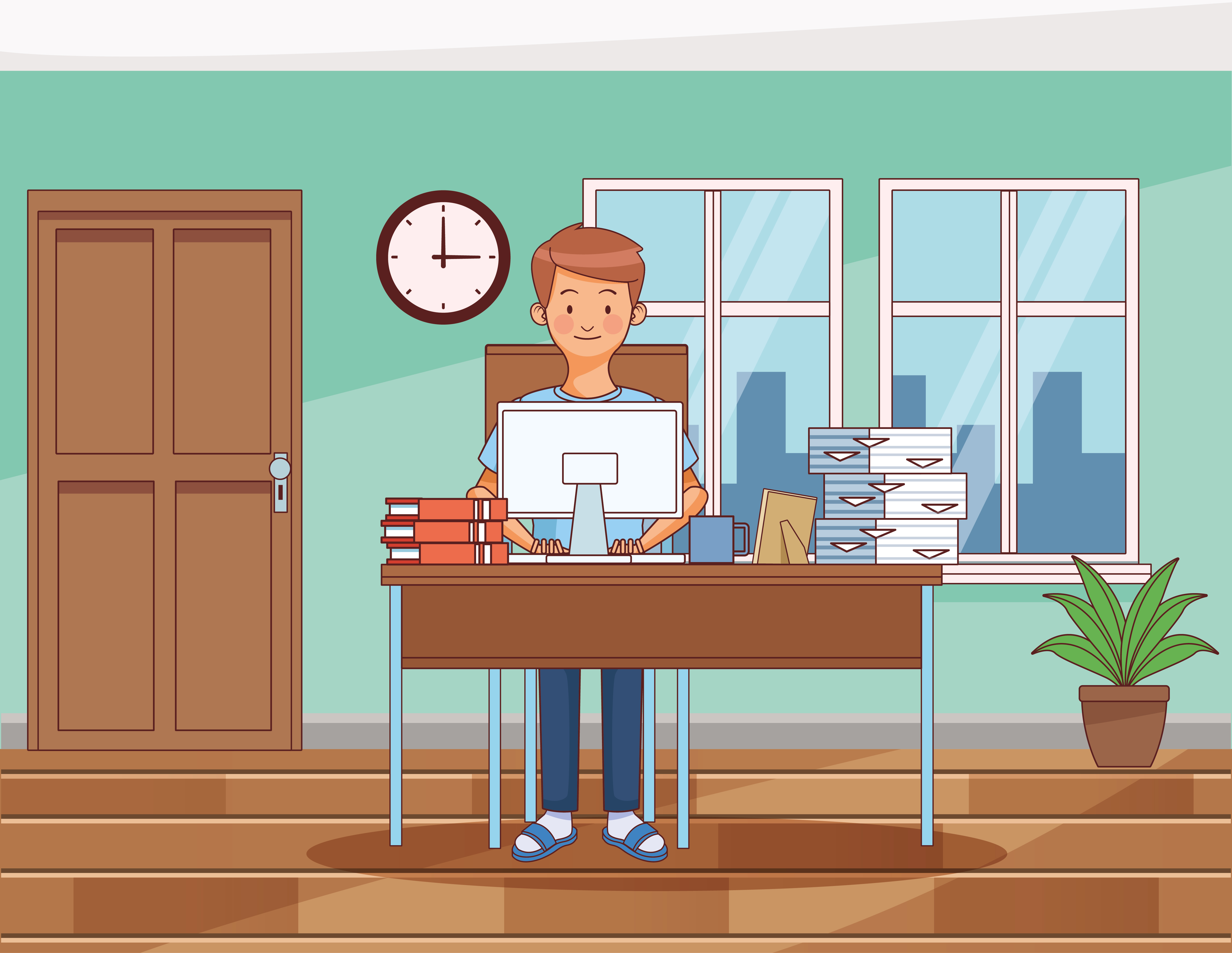 Work at home young man character vector