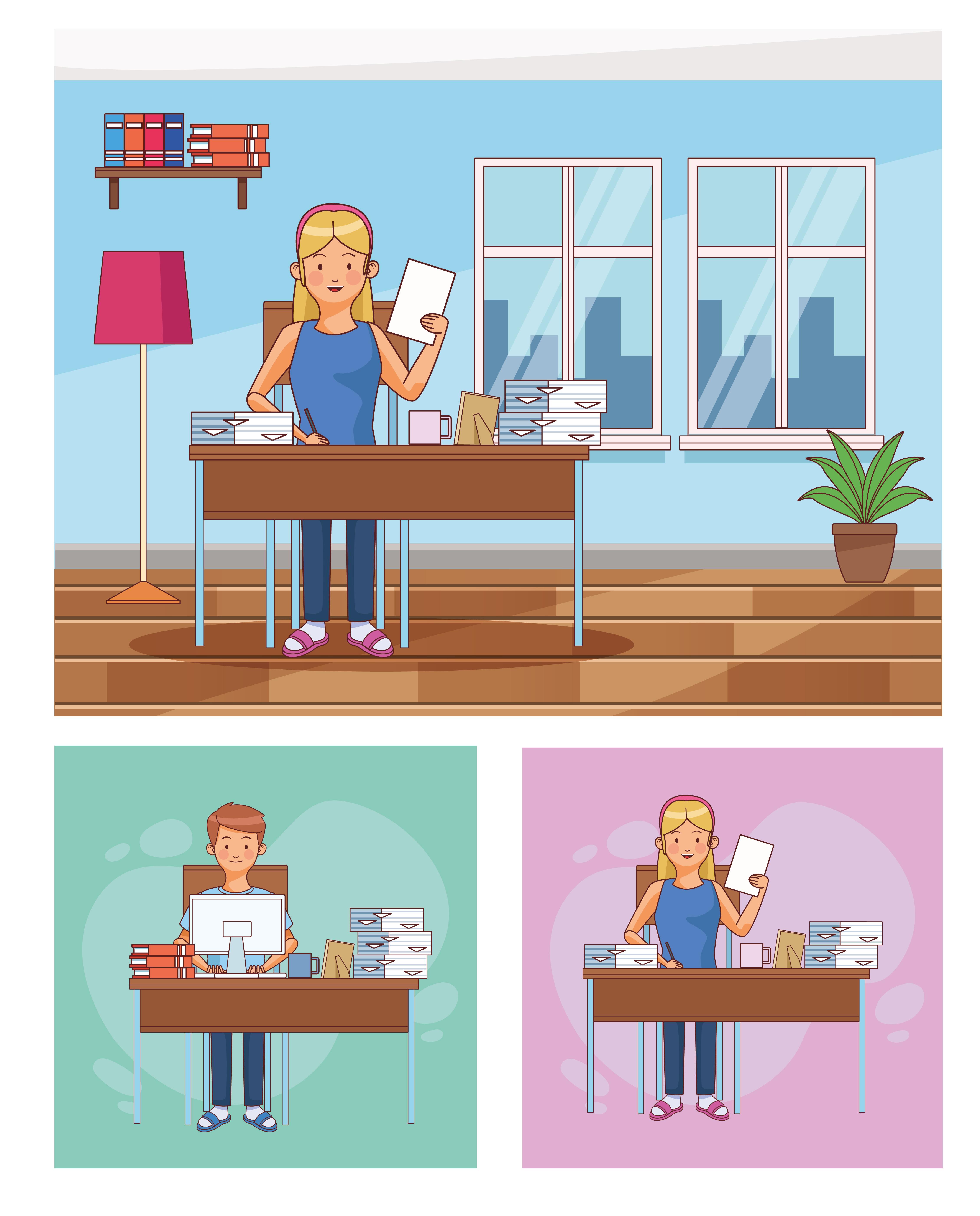 conjunto de escenas de trabajadores a domicilio.