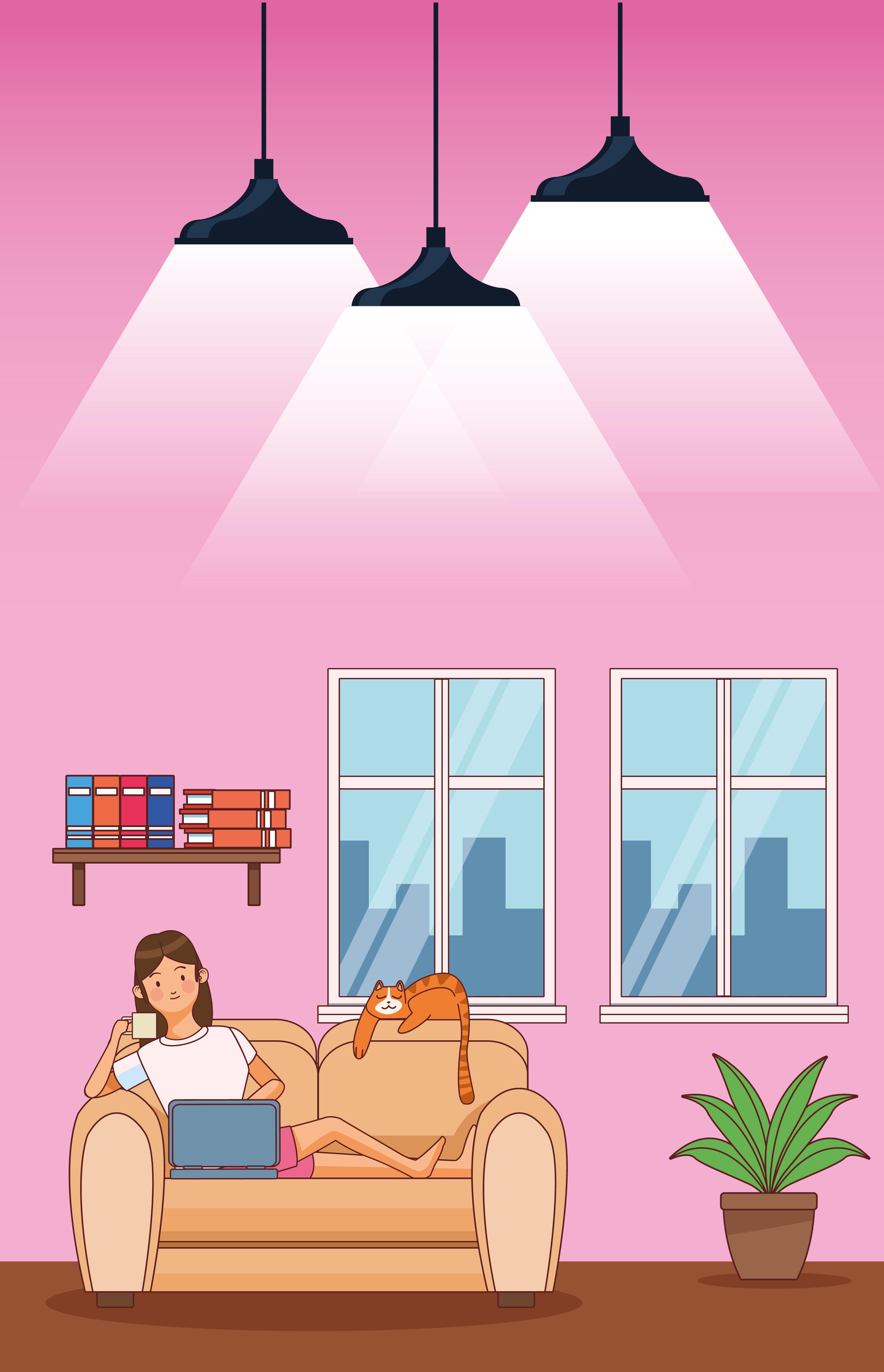 trabajar en casa personaje de mujer joven